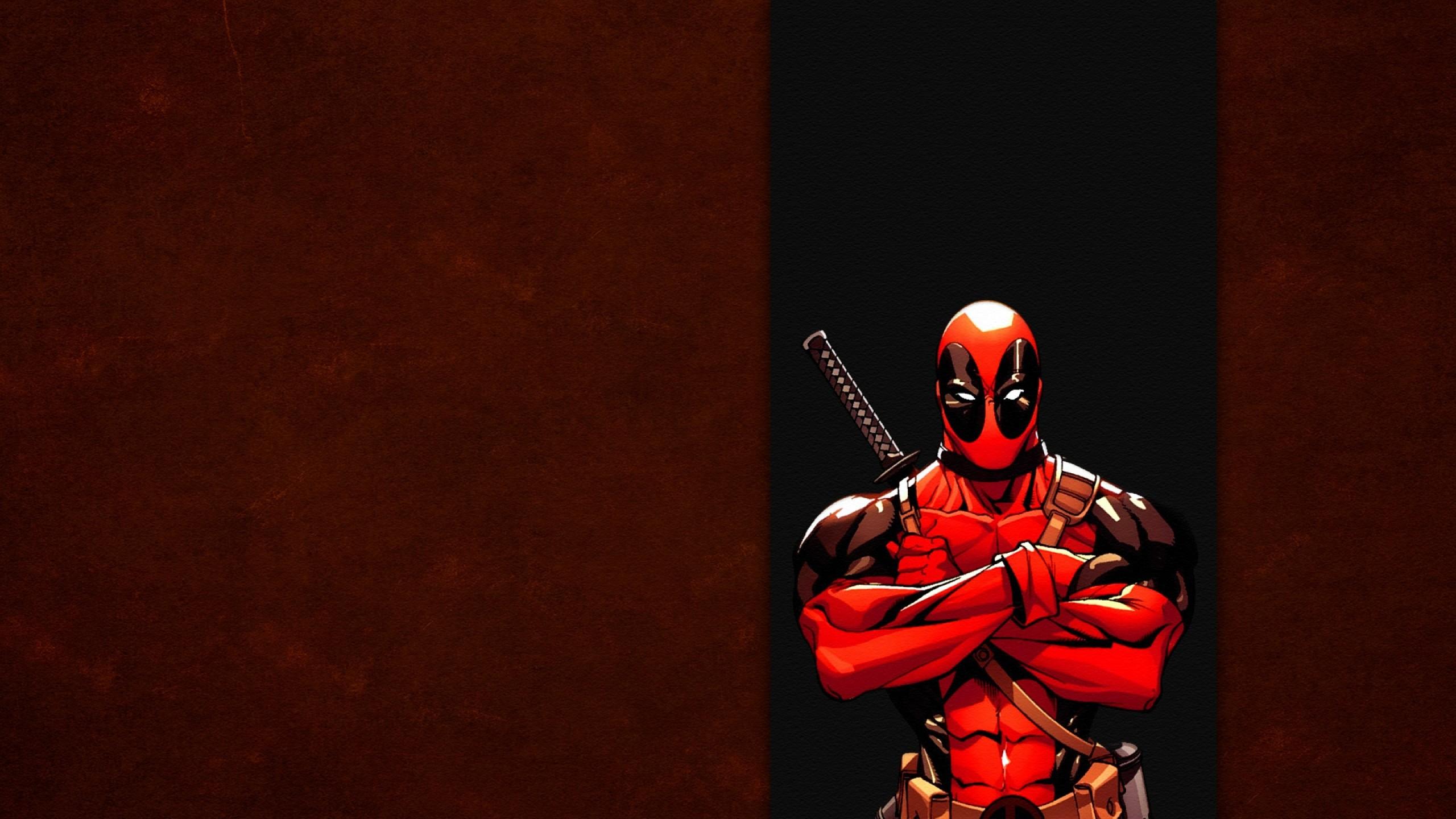 Preview wallpaper deadpool, comics, red, wade wilson, marvel, band 2560×1440