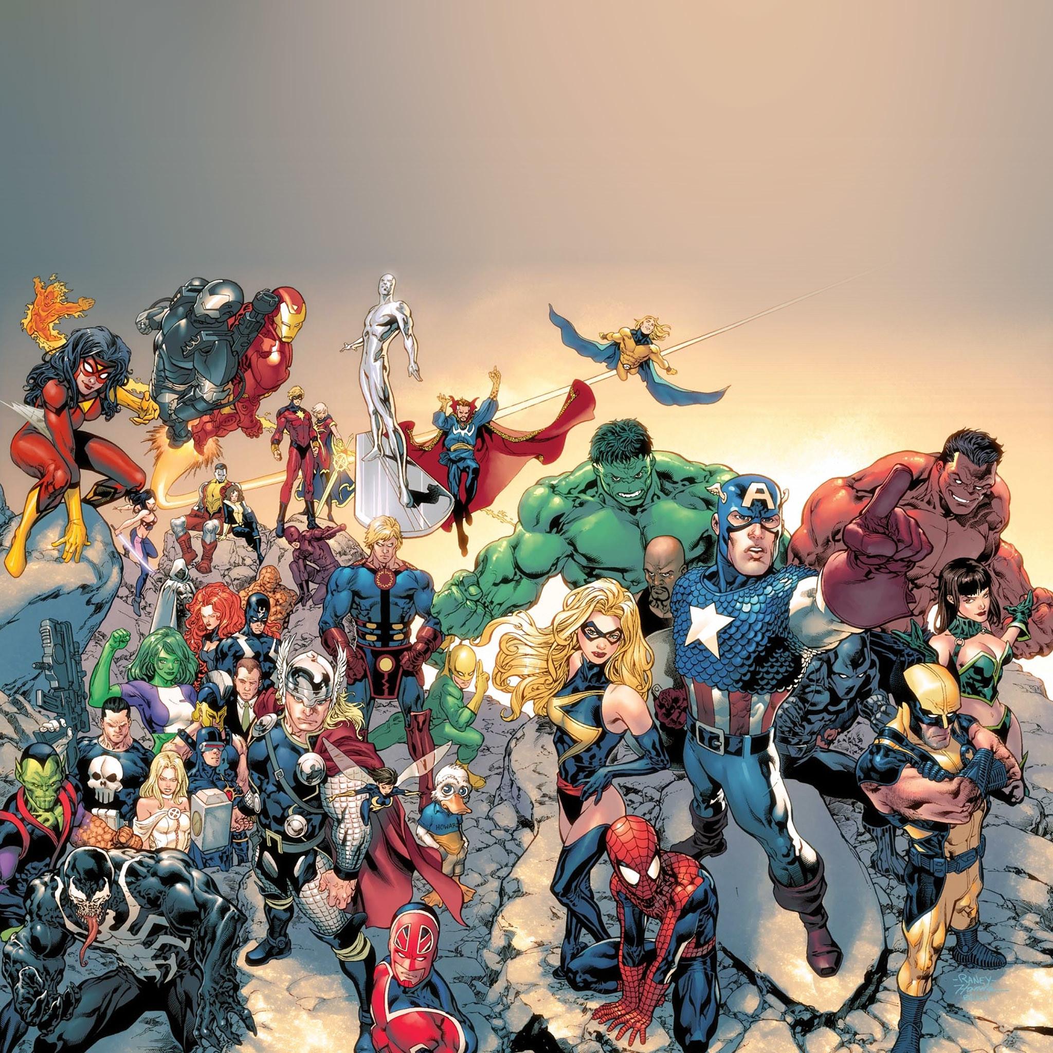 3053 1: Super Avengers Marvel Comic Drawn Art iPad wallpaper