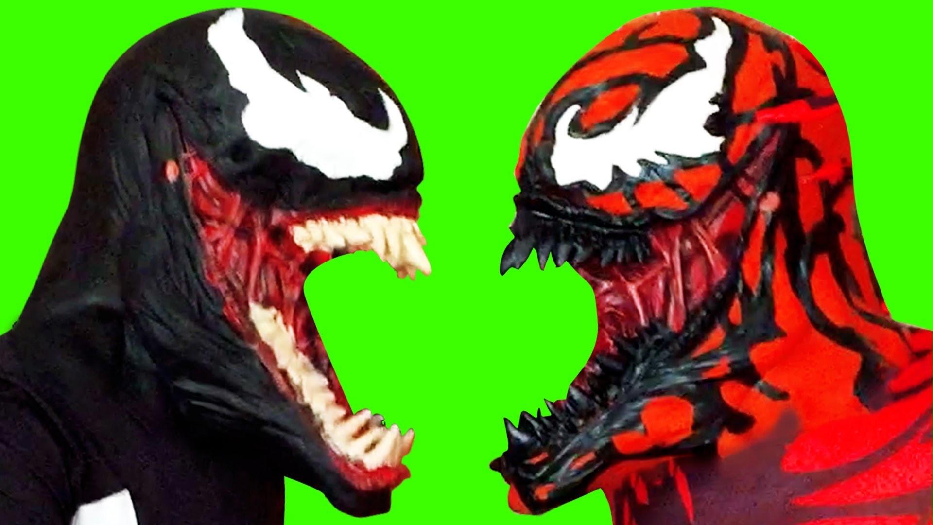 Spiderman Villains Venom vs Carnage wM&M's Candy || Real Life Superhero  Movie