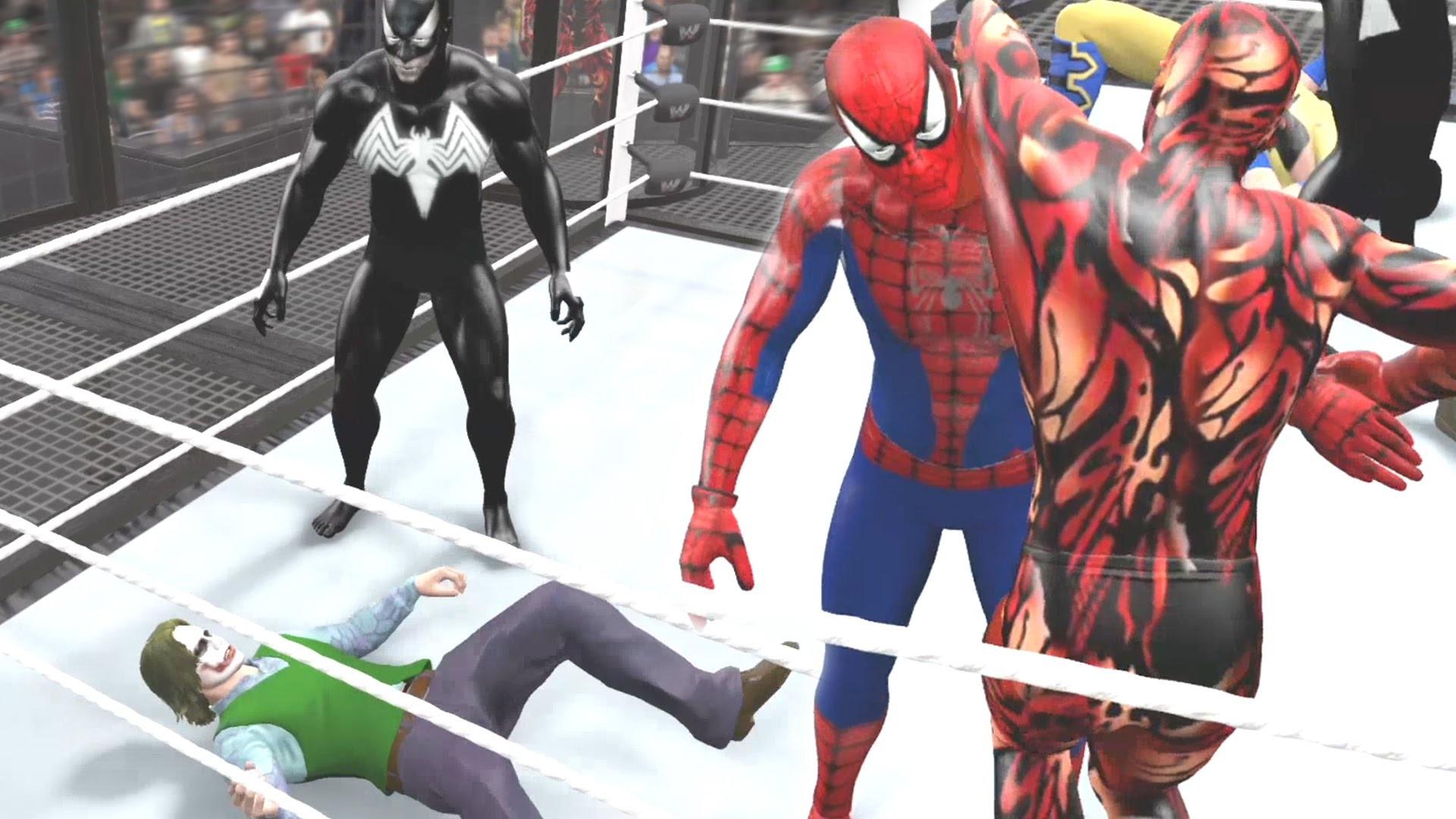 SPIDERMAN VS CARNAGE VS VENOM VS WOLVERINE VS JOKER VS BANE – WWE 2K15 –  YouTube