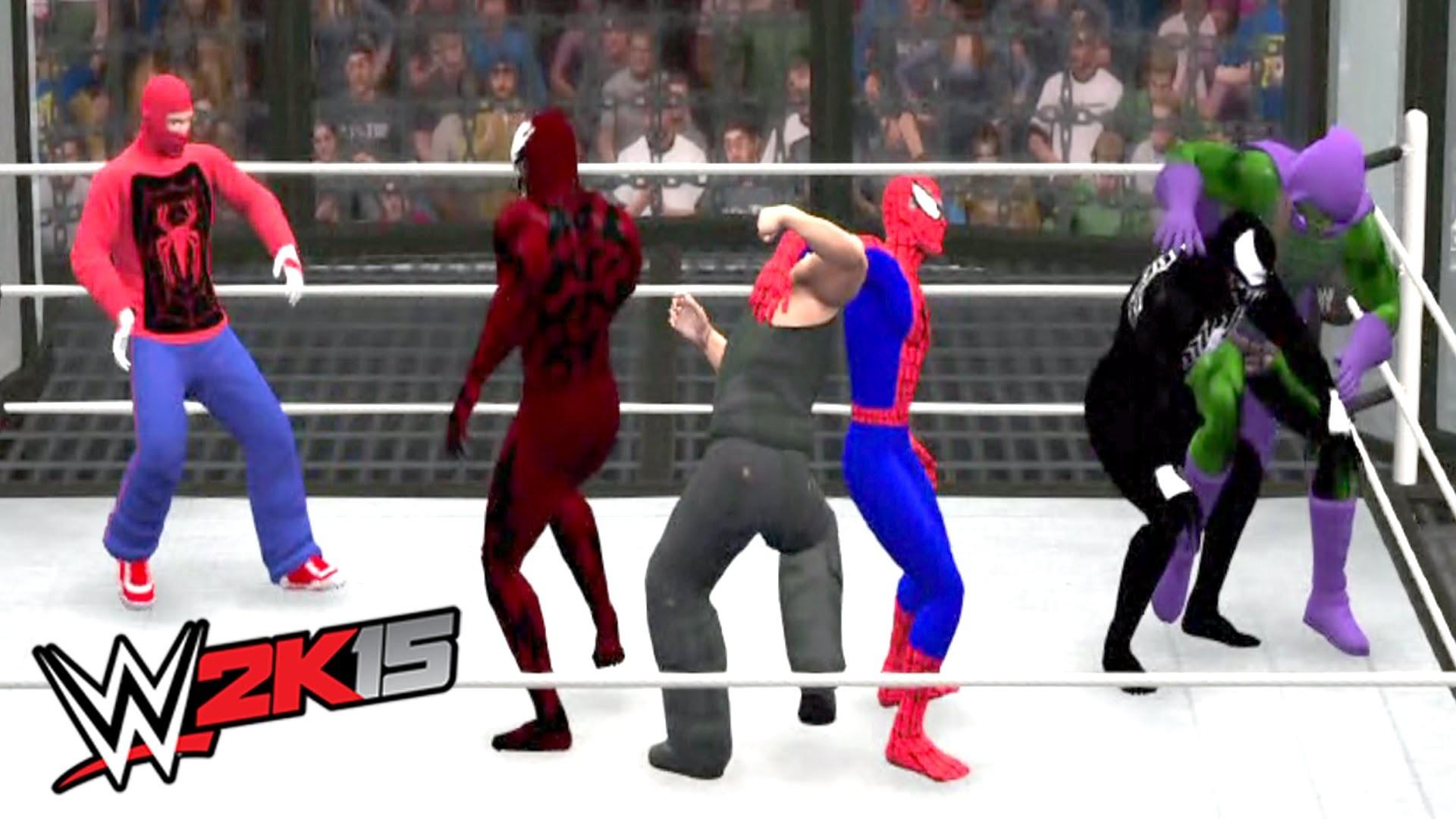 SPIDERMAN VS VENOM VS CARNAGE VS SPIDER MAN OLD VS GREEN GOBLIN VS SANDMAN  | WWE 2K15 – YouTube