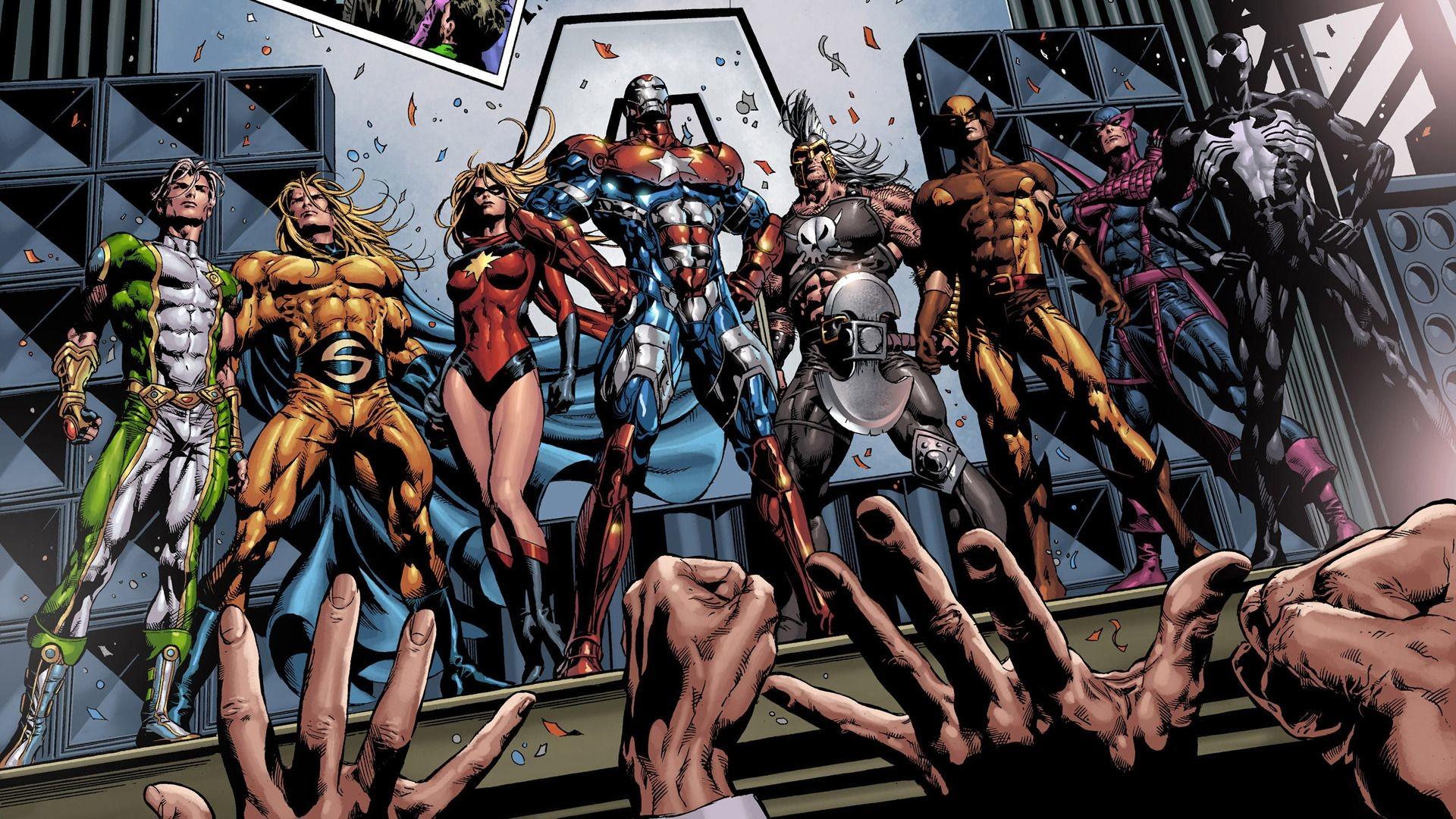 Marvel superheroes, venom, wolverine, hawkeye, sentry, ares, iron .