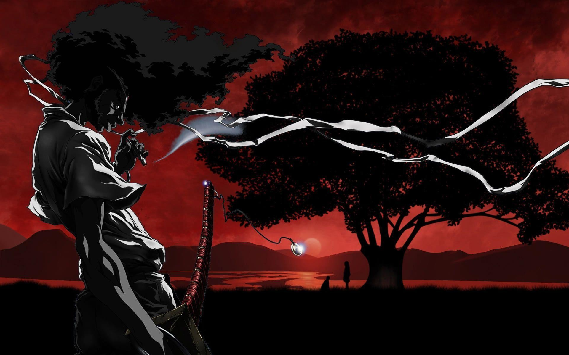 Afro Samurai smoking
