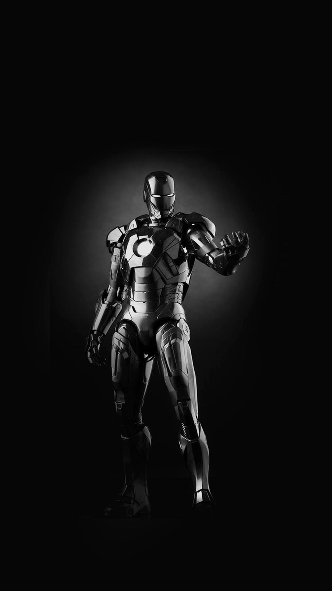 Ironman Dark Figure Hero Art Avengers Bw #iPhone #6 #plus #wallpaper