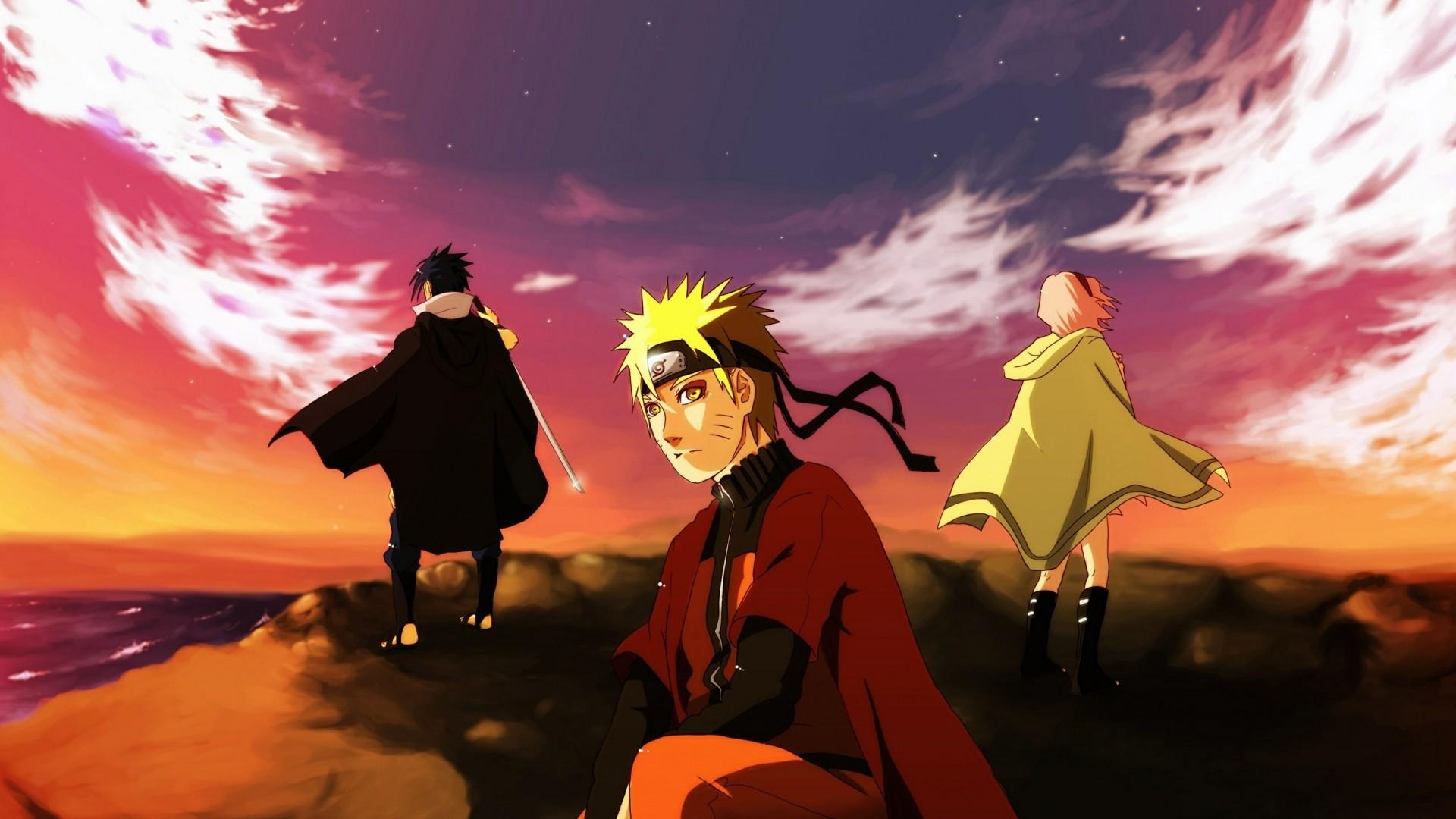 Wallpaper naruto, team of seven, uchiha sasuke, art, sea, cliff