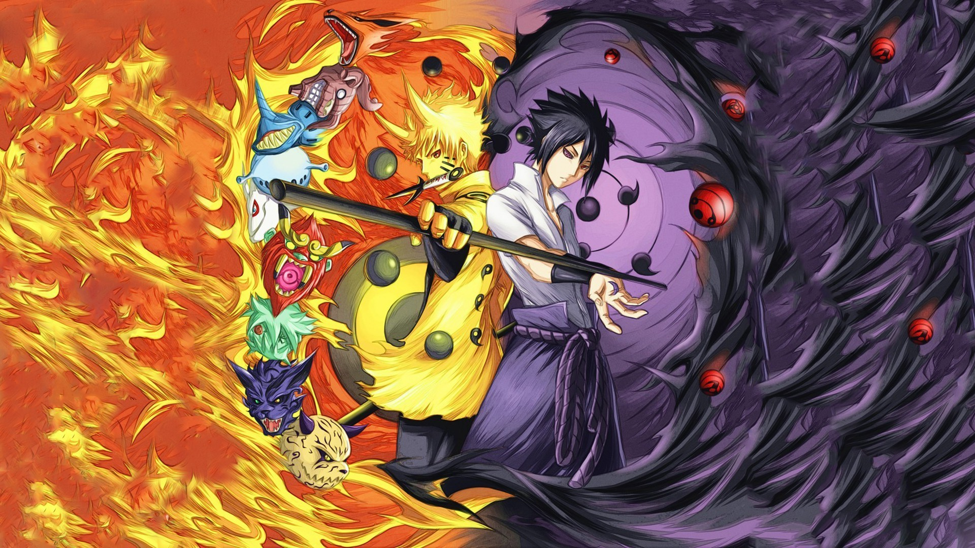 Rinnegan, Naruto Shippuuden, Uchiha Sasuke, Uzumaki Naruto, Anime Boys,  Manga, Sharingan, Fire, Bijuu Wallpapers HD / Desktop and Mobile Backgrounds