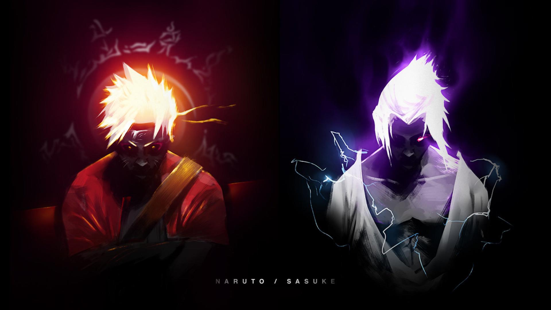 HD Wallpaper Naruto Sage Mode and Sasuke Chidori
