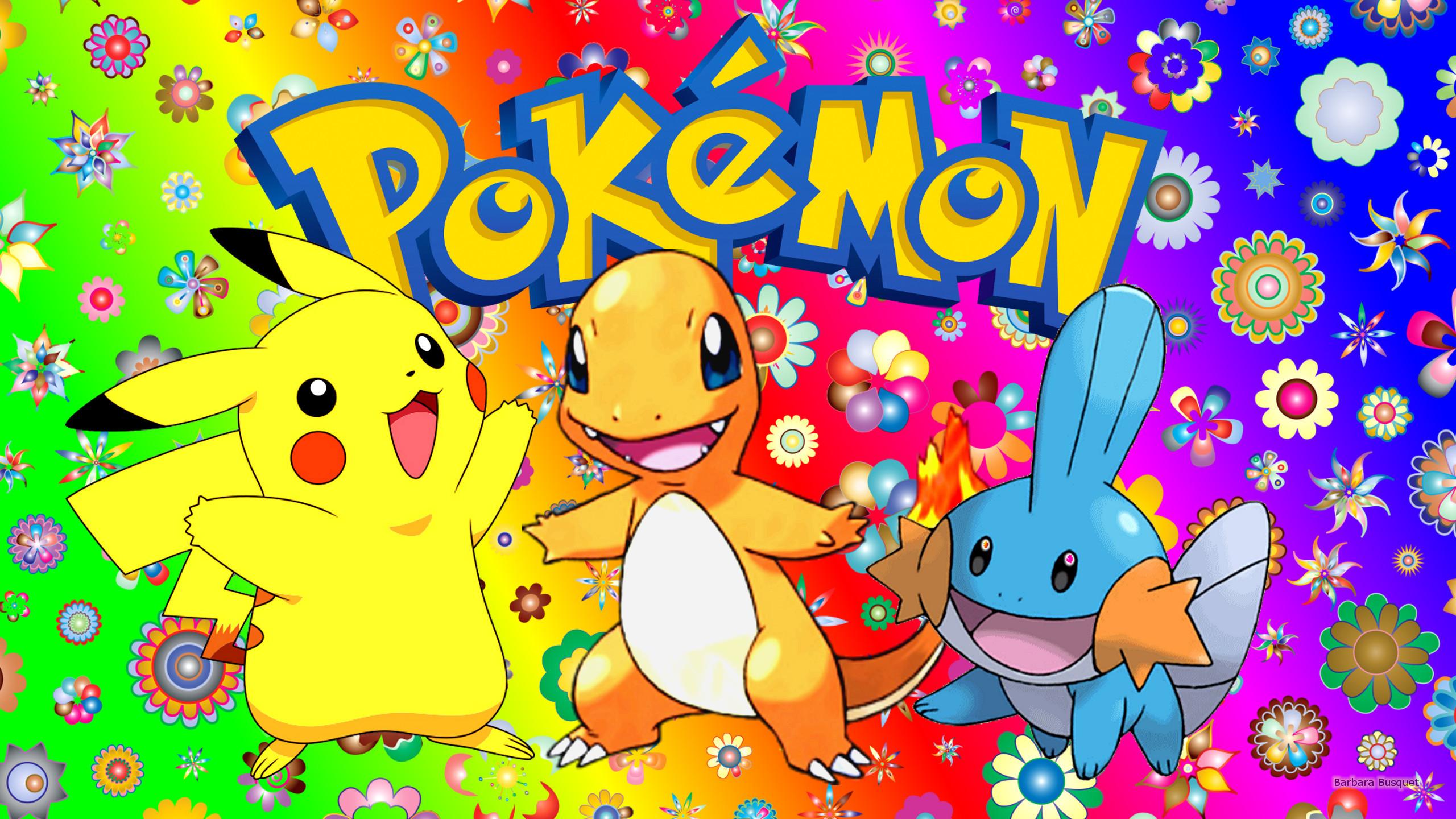 Colorful Pokemon wallpaper with Pikachu, Charmander and Mudkip.