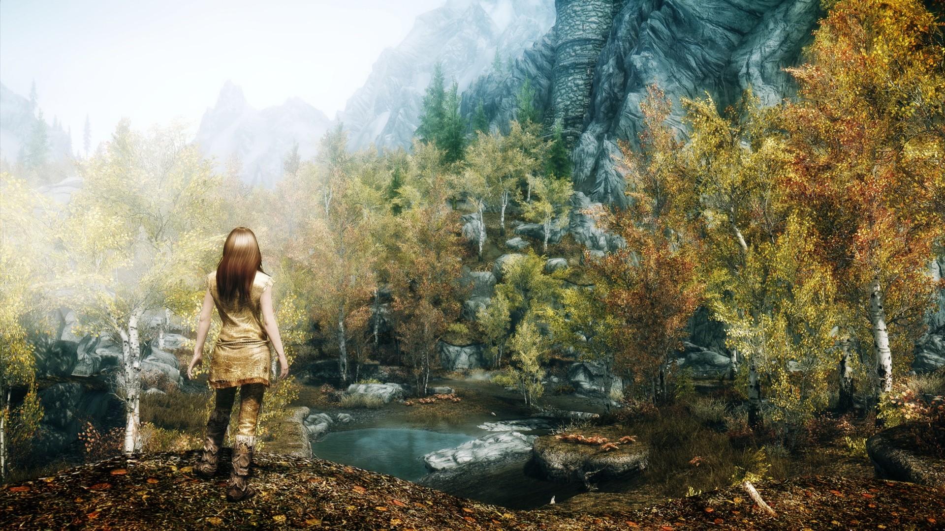 Preview wallpaper skyrim, girl, autumn, trees 1920×1080