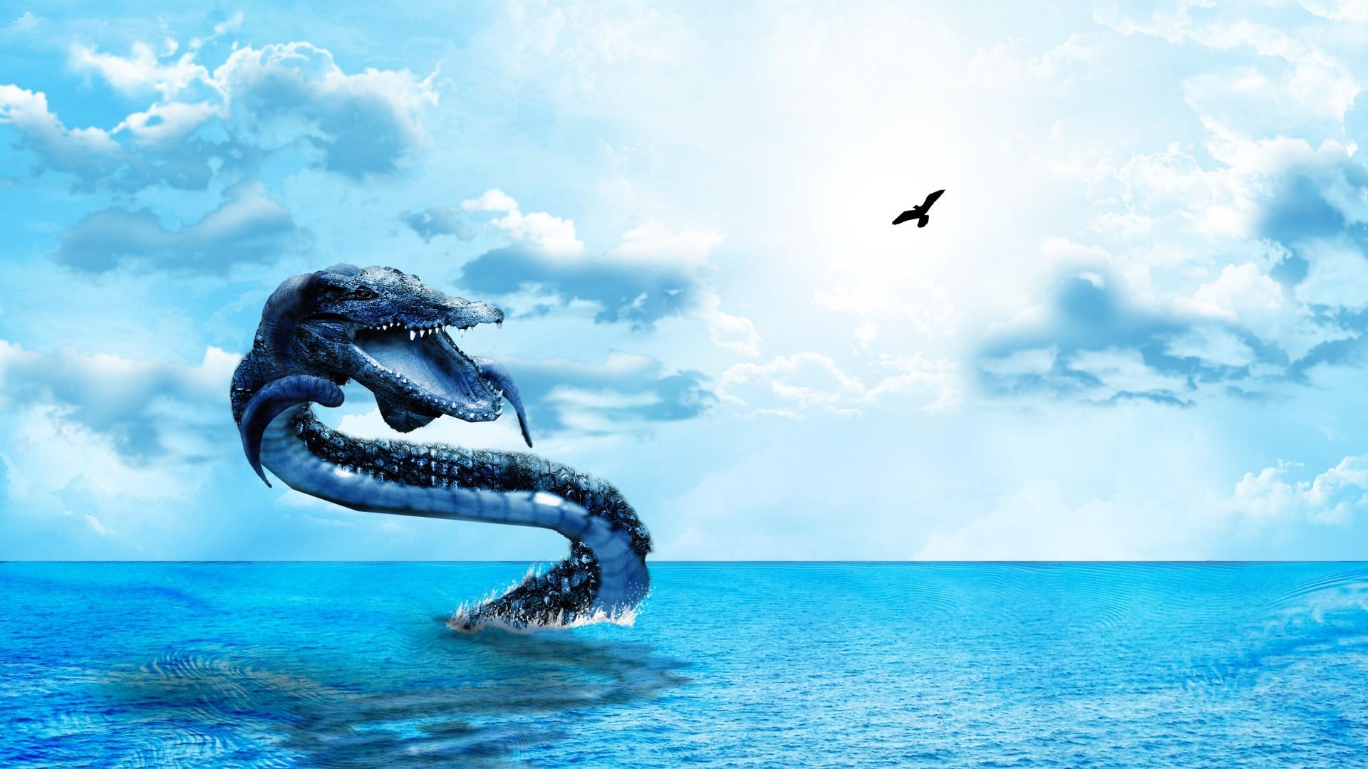 sea serpent wallpaper hd