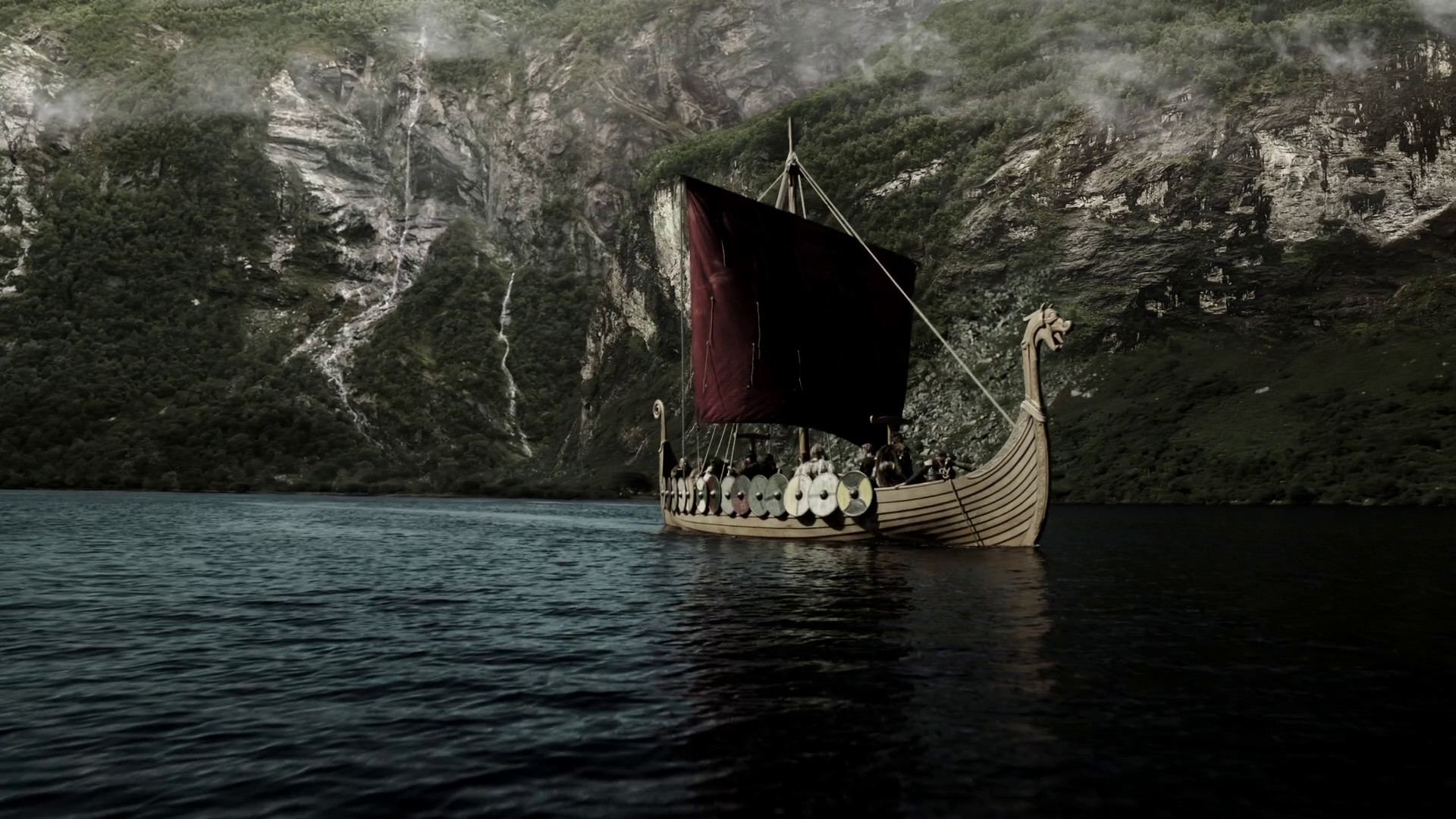 Red sail of a Viking ship wallpapers and images – wallpapers, pictures .
