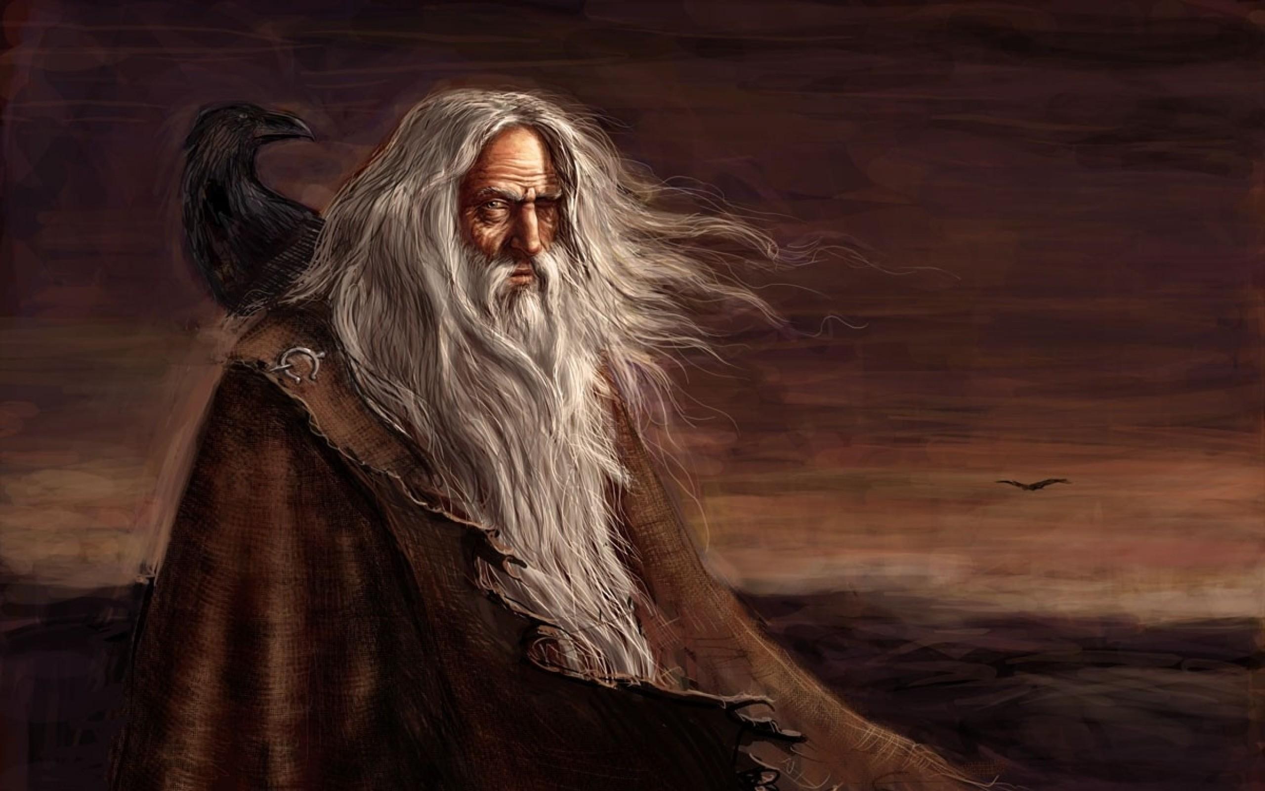 fantasy art odin mythology ravens gods paganism Wallpaper HD