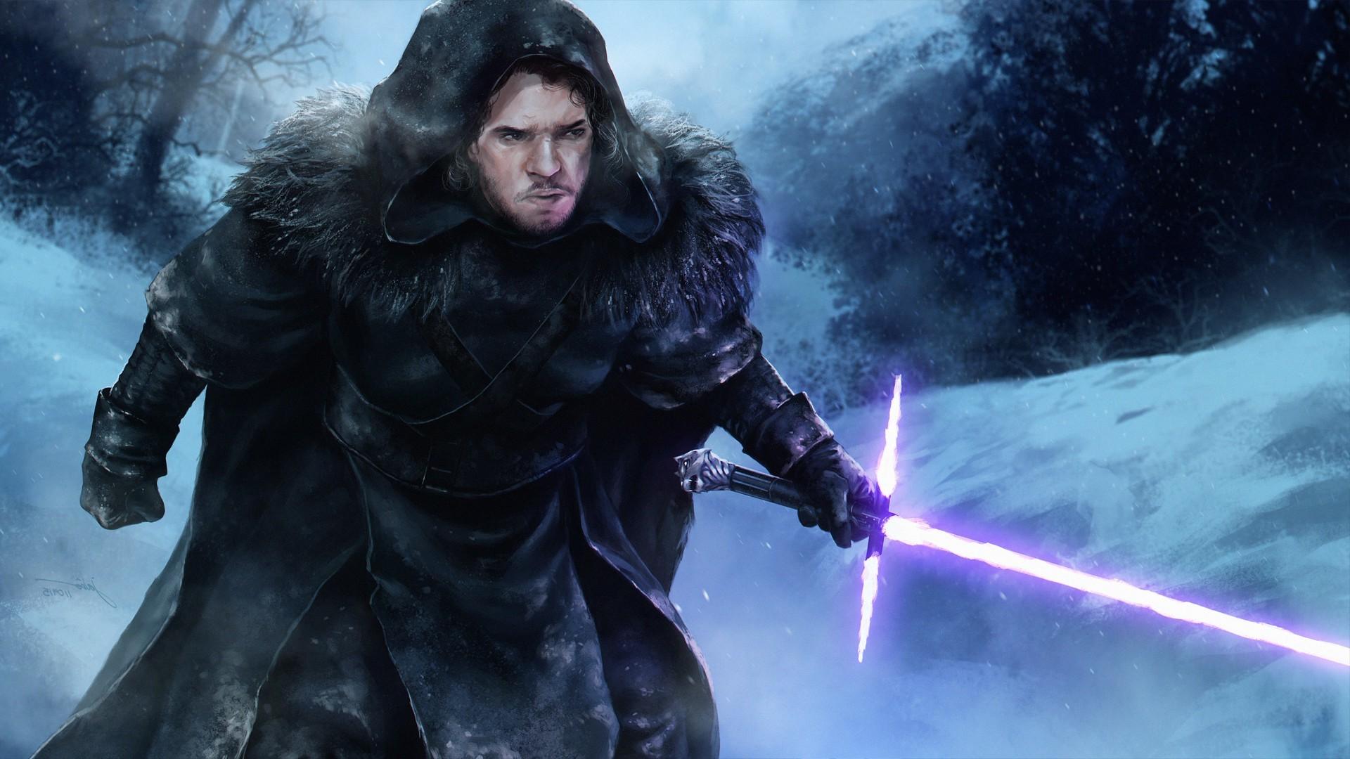 Star Wars, Game Of Thrones, Jon Snow, Artwork, Fantasy Art, Lightsaber Wallpapers  HD / Desktop and Mobile Backgrounds