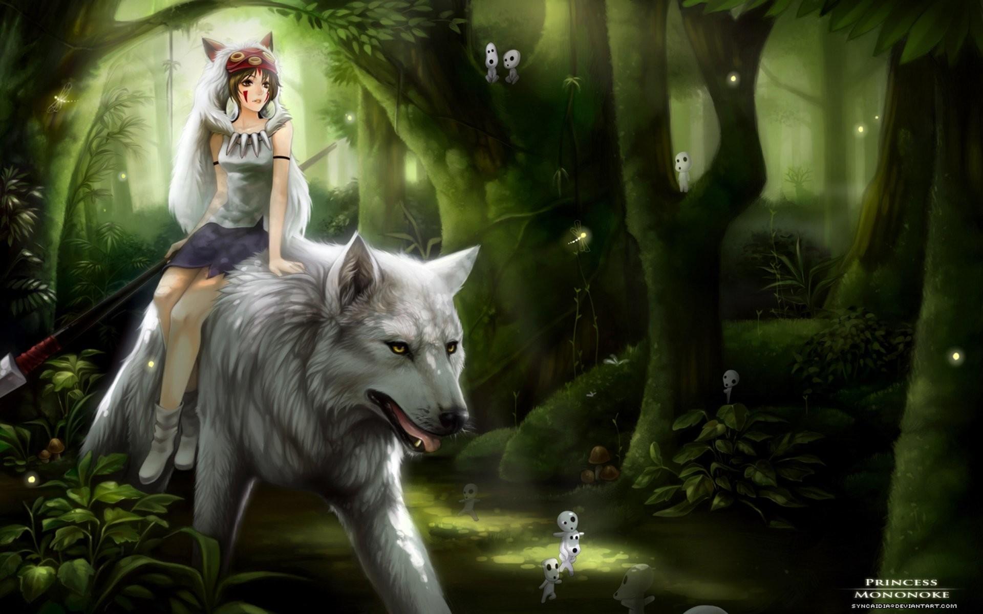 Movie Princess Mononoke Princess Forest Wolf Green Magic Anime Wallpaper