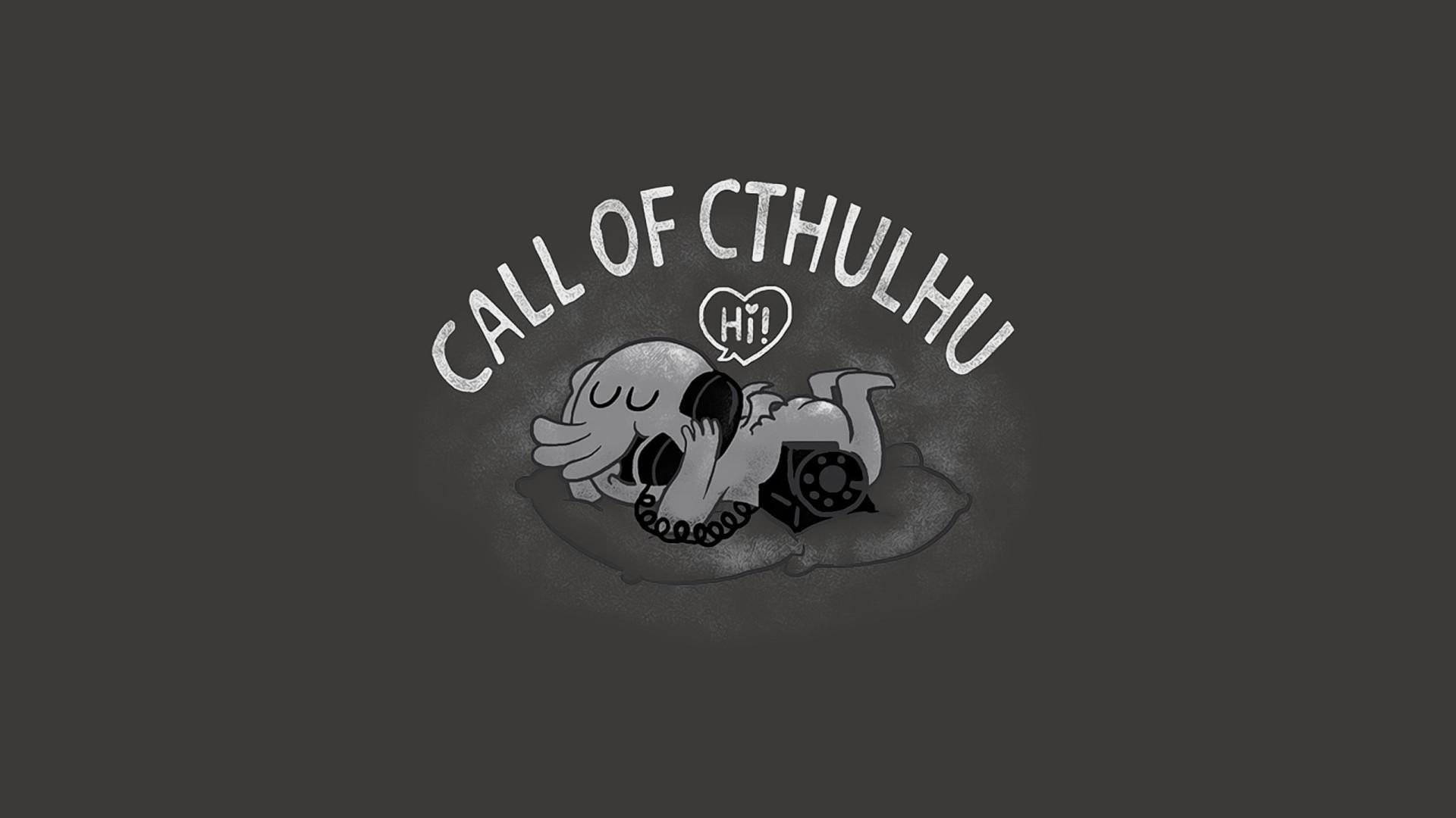 Humor – Fantasy Cthulhu Telephone Phone Black & White Call Humor Wallpaper