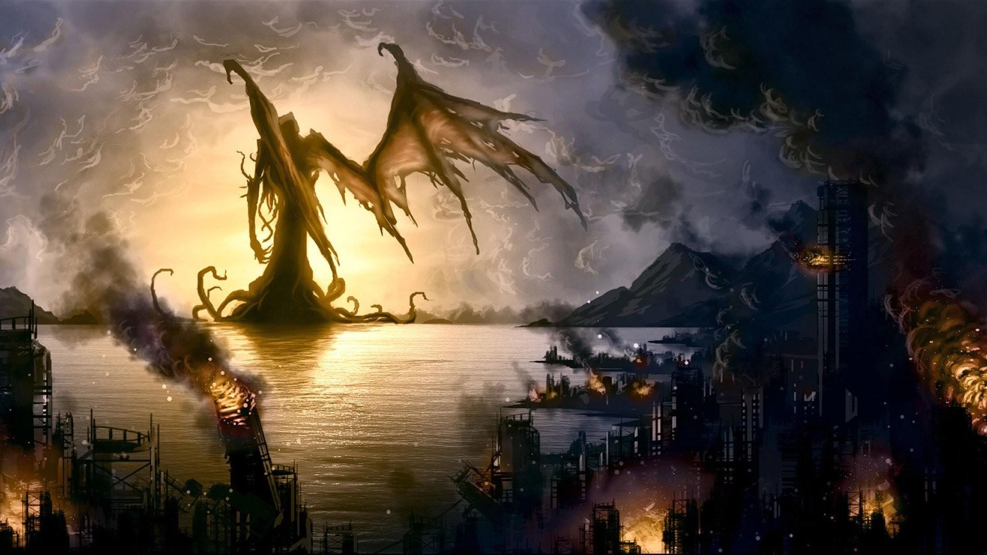 Fantasy – Cthulhu Dark Demon City Wallpaper