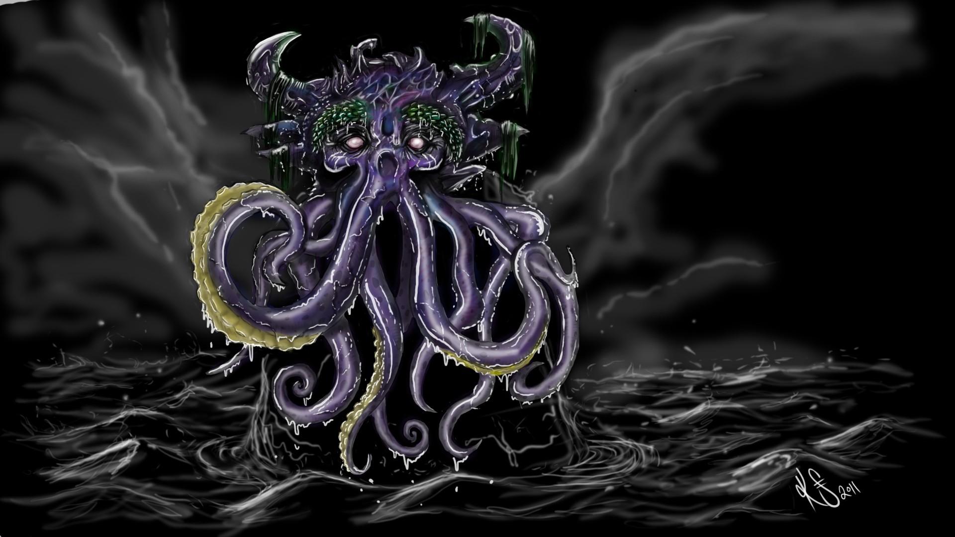 1 fantasy art dark monster creature octopus ocean sea storm sky clouds  waves cthulhu wallpaper |