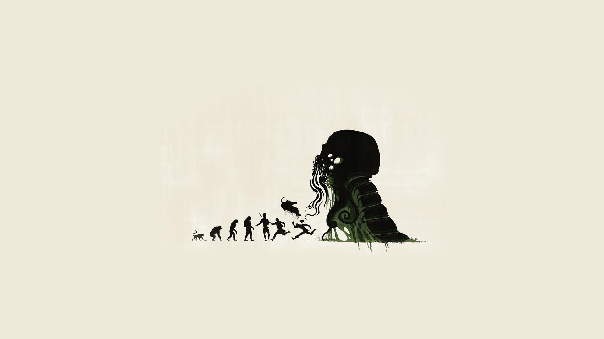 General evolution Cthulhu artwork minimalism horror H. P.  Lovecraft white background simple background