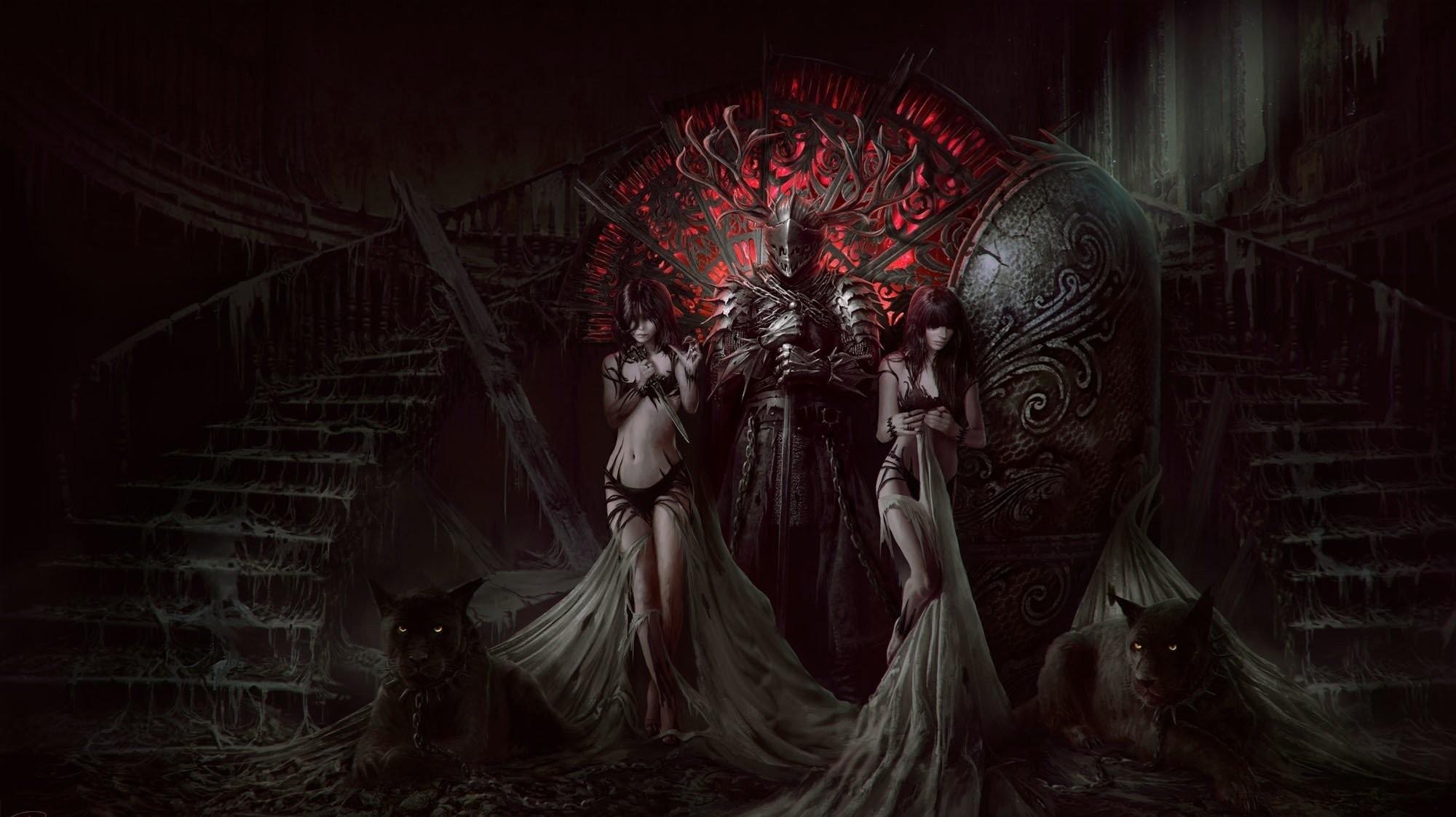 Fantasy – Dark Knight Black Demon Panther Stairs Girl Fantasy Wallpaper