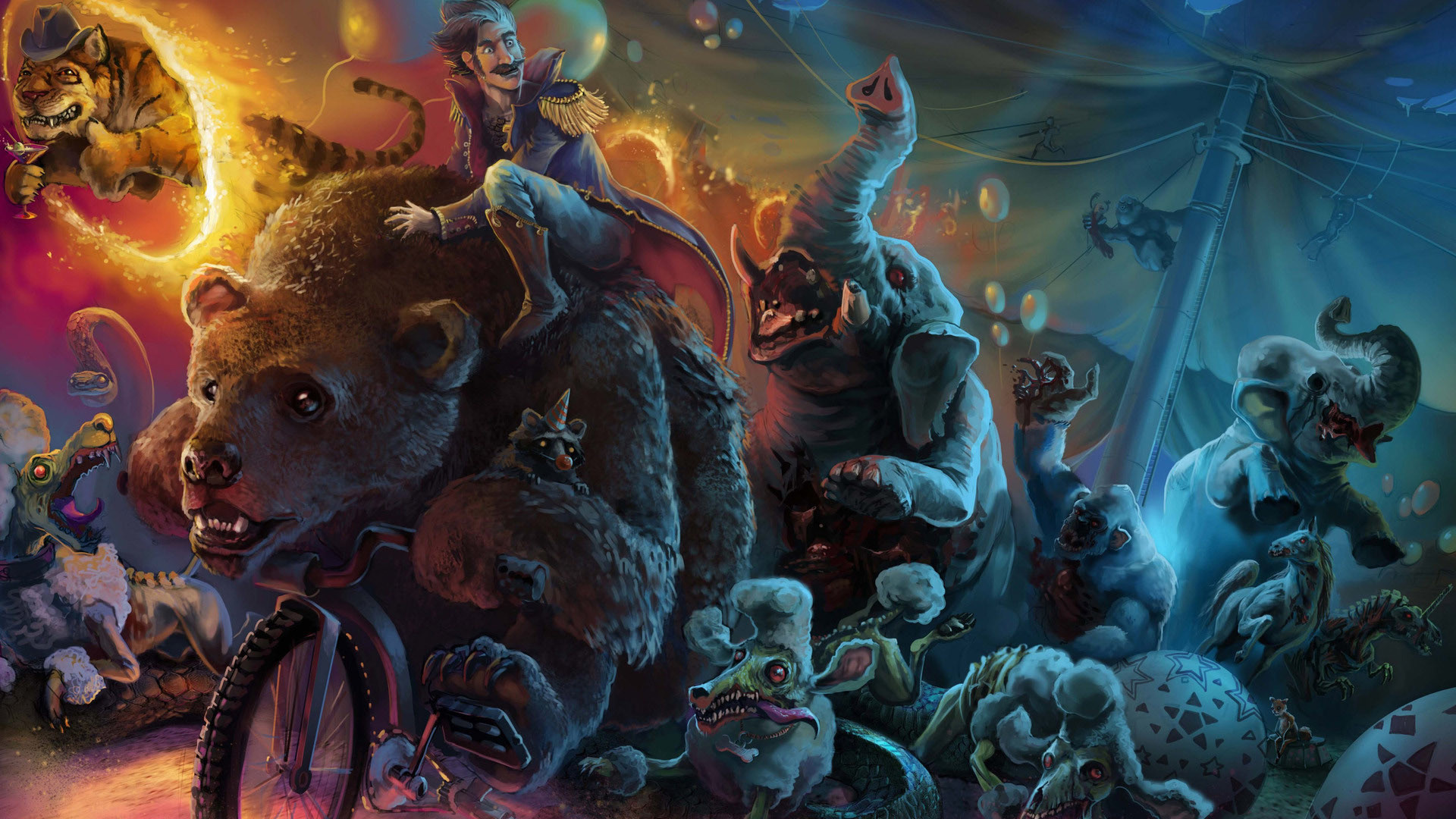 Dark circus animals fantasy wallpaper.