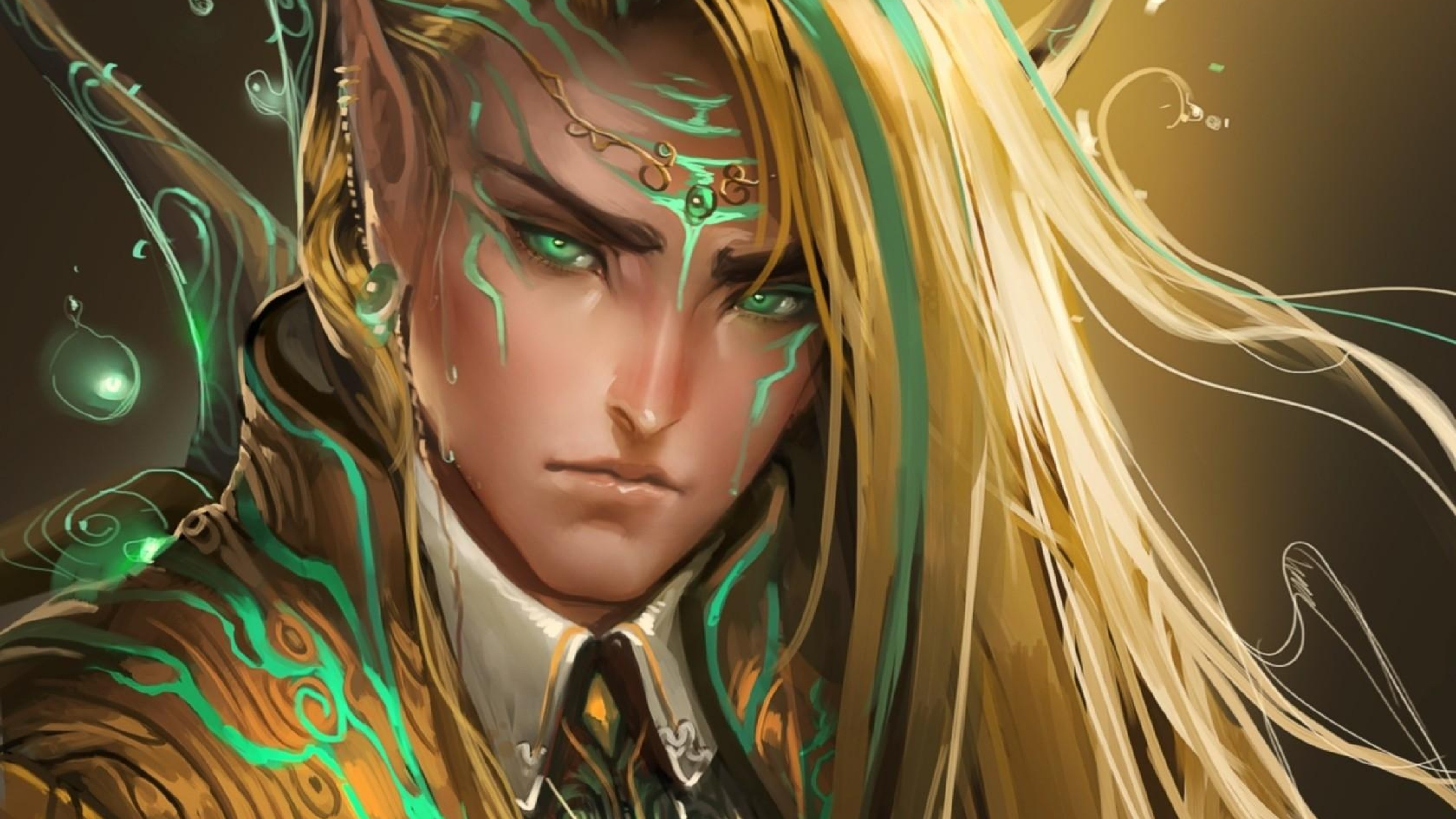 Wallpaper guy, elf, eyes, hair, sweat, drops