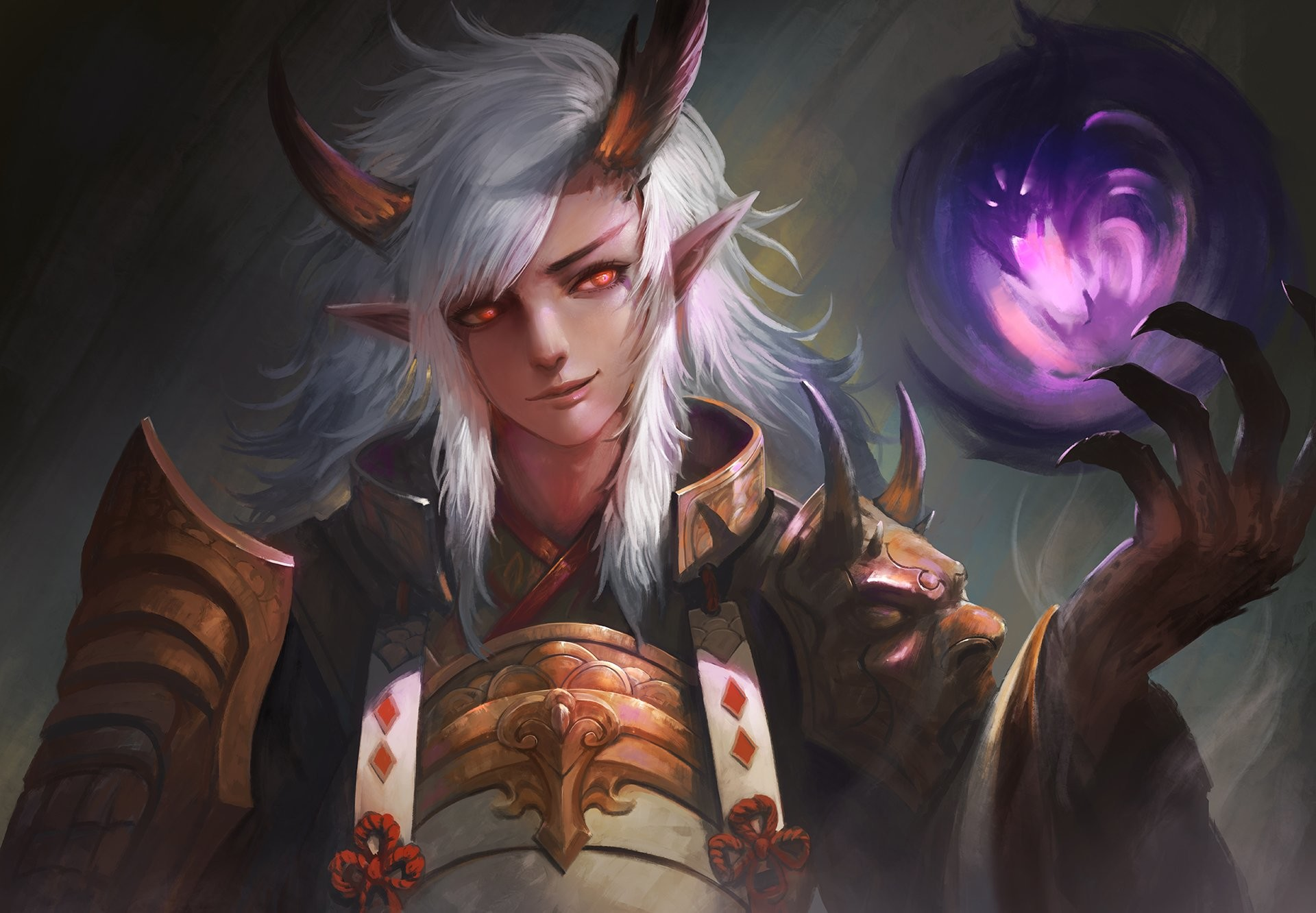 Male armor demon horns ibaraki douji (onmyouji) kaze no gyouja long hair  magic male onmyouji pointed ears realistic red eyes samurai white hair  wallpaper …