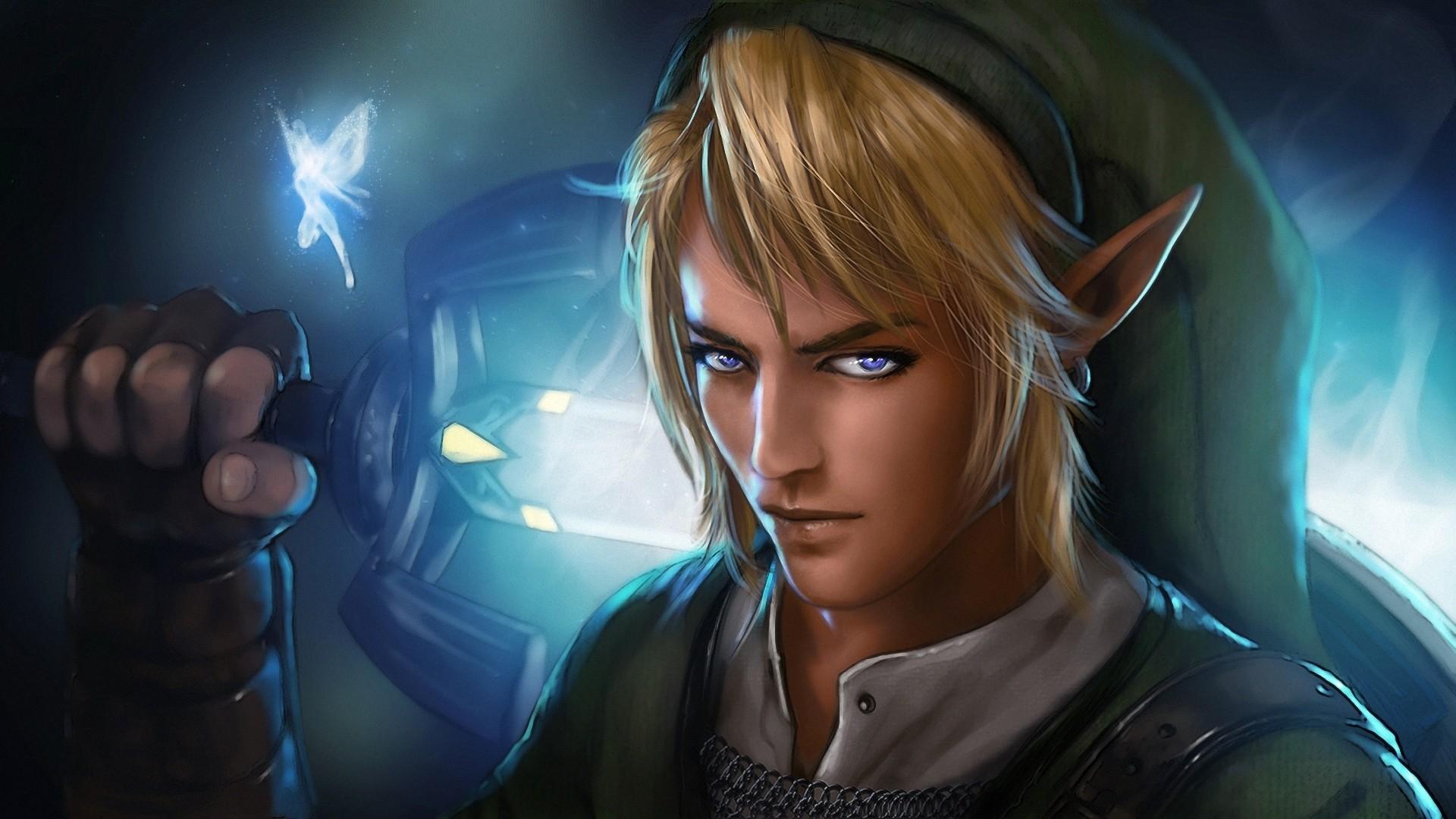 Wallpaper the legend of zelda, link, man, elf, sword, eyes