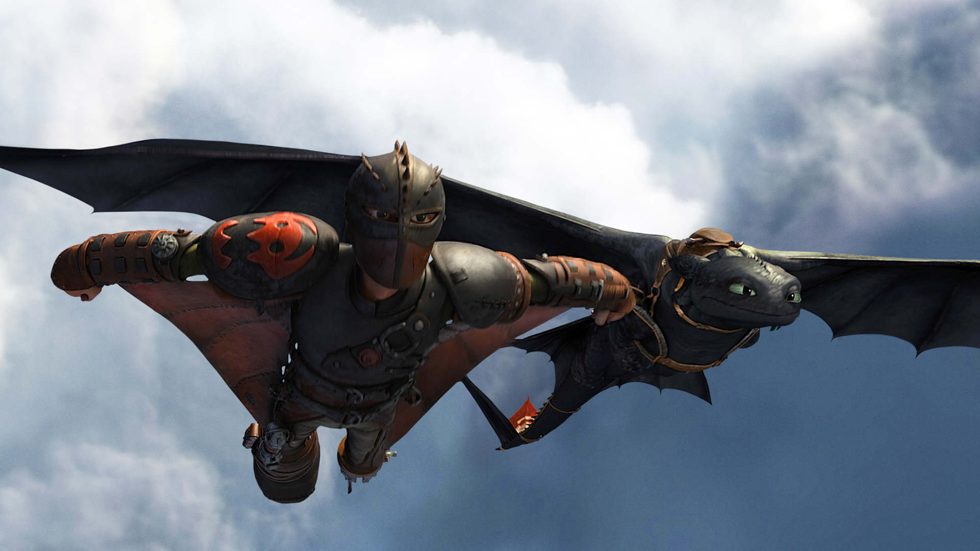 hiccup and toothless / night fury flying in how to train your dragon 2 movie