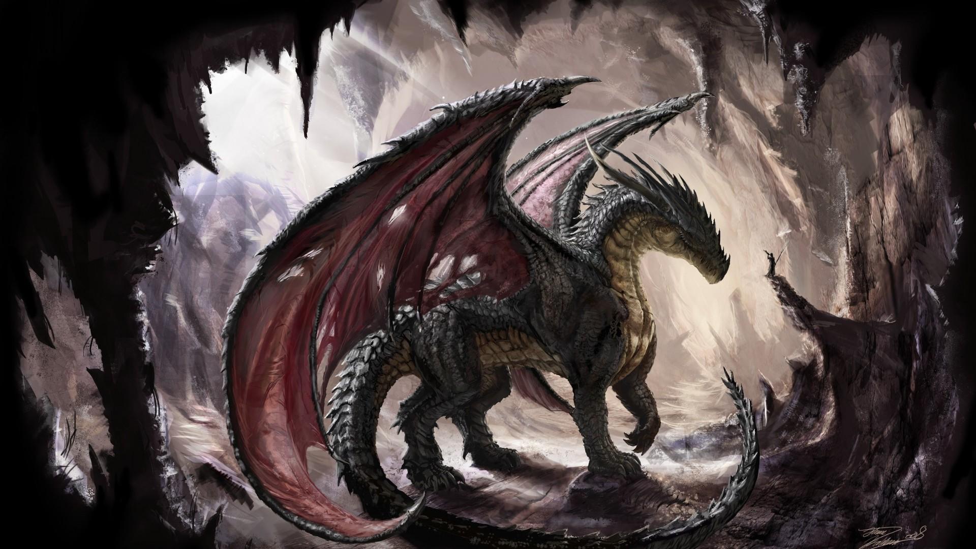 Preview wallpaper dragon, cave, light, art 1920×1080