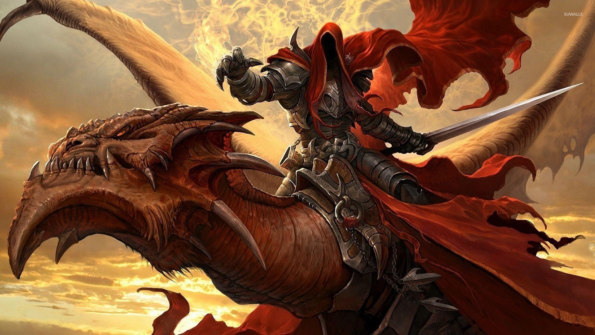 Warrior on the dragon wallpaper