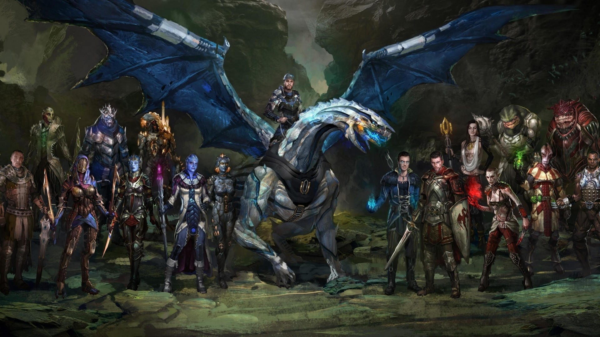 Preview wallpaper dragon, rider, creatures, army, cliffs 1920×1080