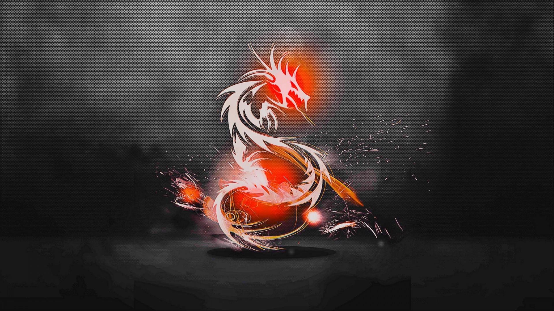 Wallpaper dragon, background, light, shadow