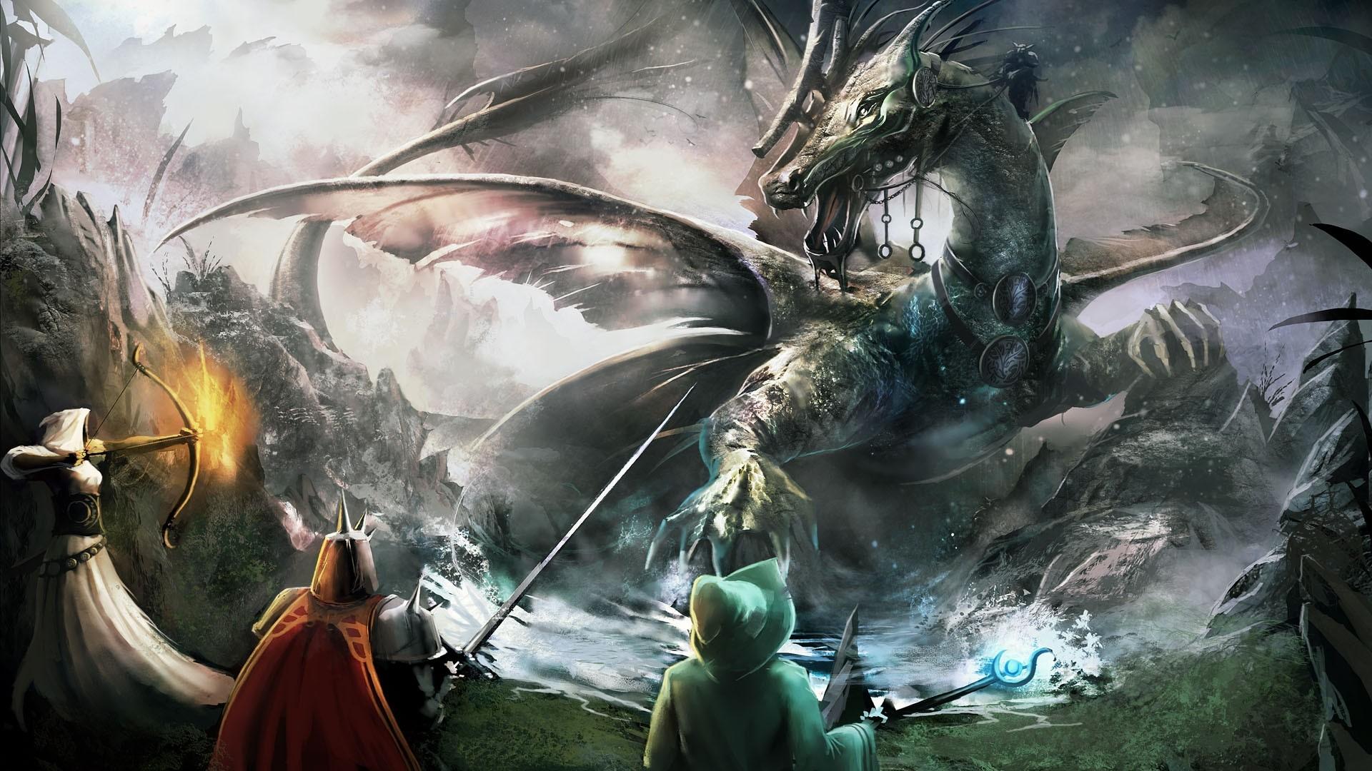 Preview wallpaper trine 2, bow, dragon, sword, staff 1920×1080