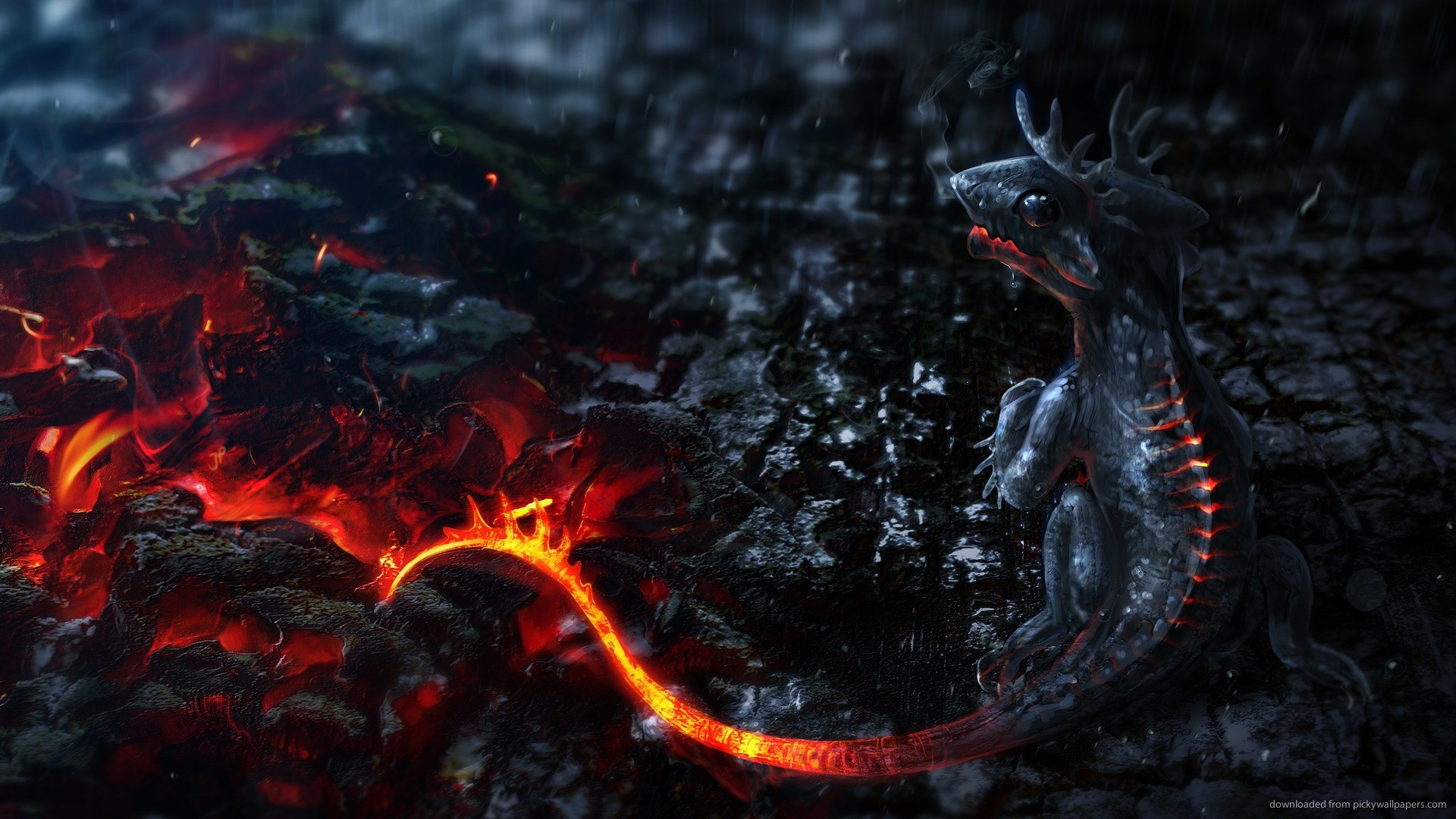 3D Lava Dragon Baby for 1920×1080