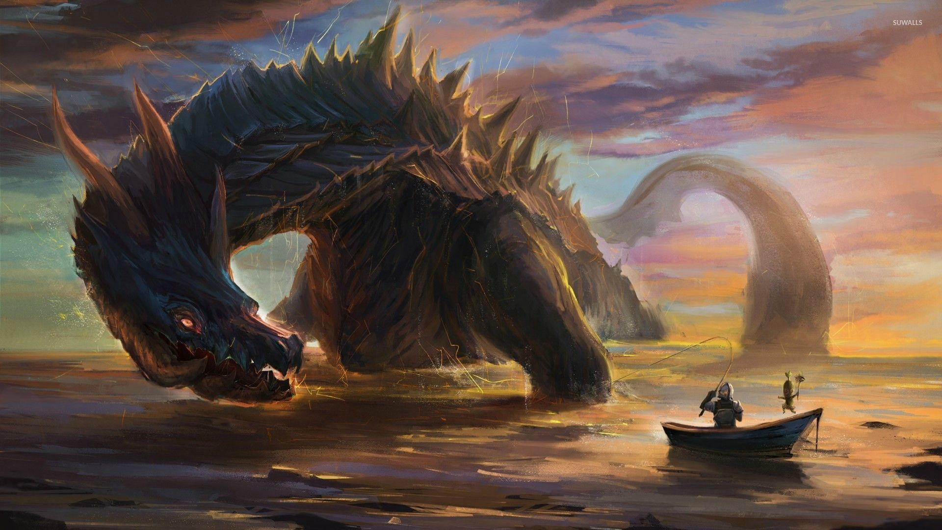Warrior in a small boat fishing the giant dragon wallpaper jpg