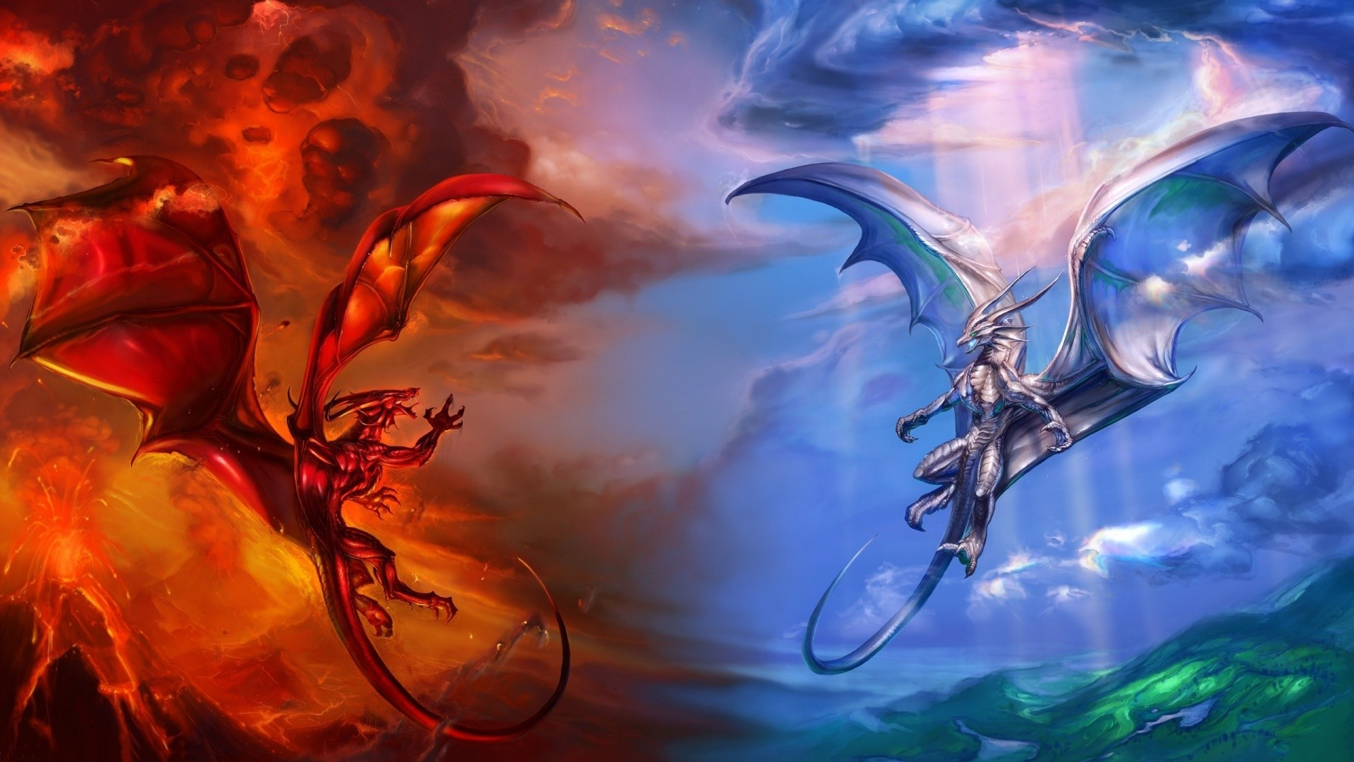 Helicopters vs dragons fantasy hd wallpaper 1920×1080. heaven and hell dragons  1920×1080.