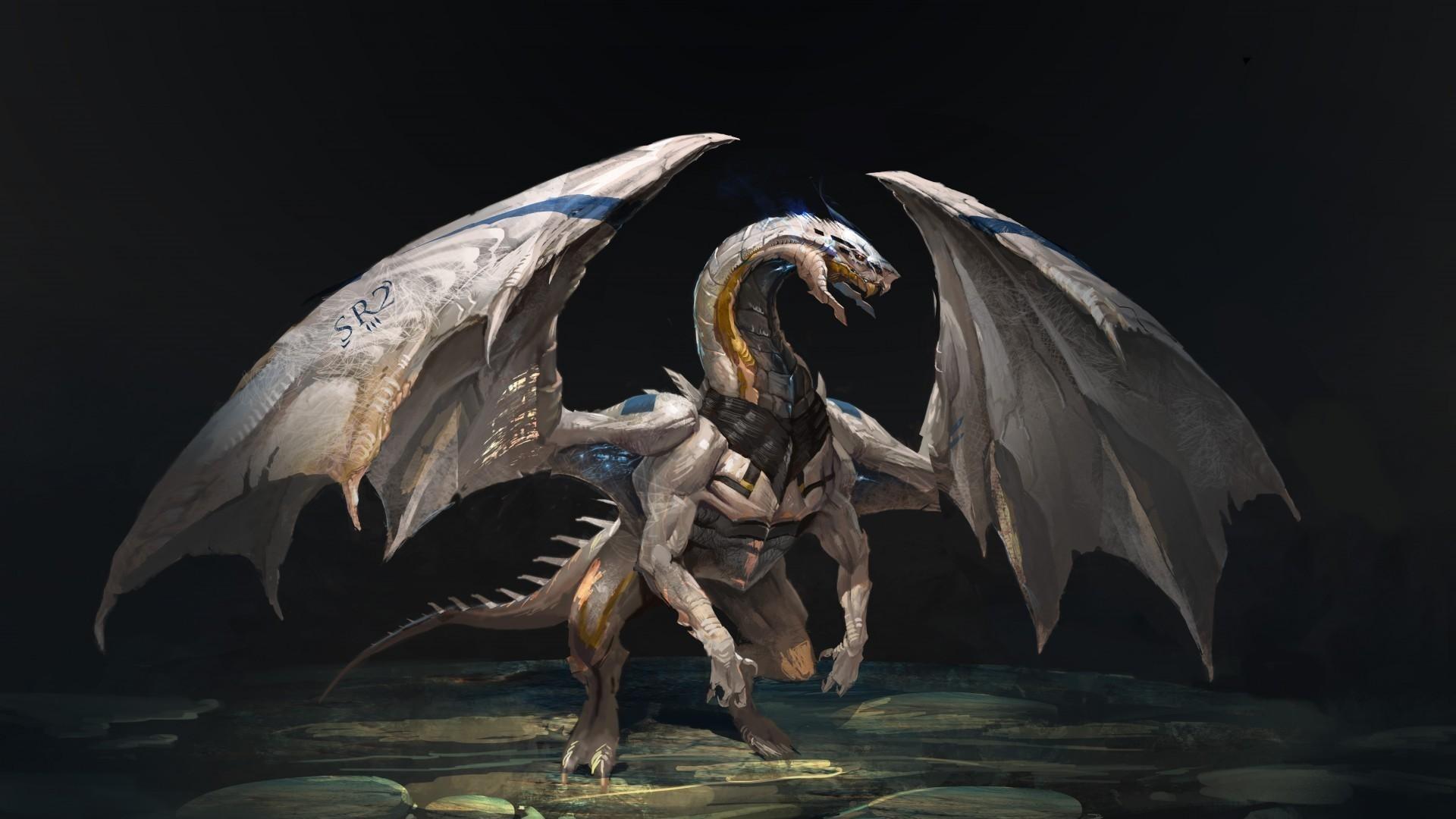 Wallpaper dragon, creature, wings, stones