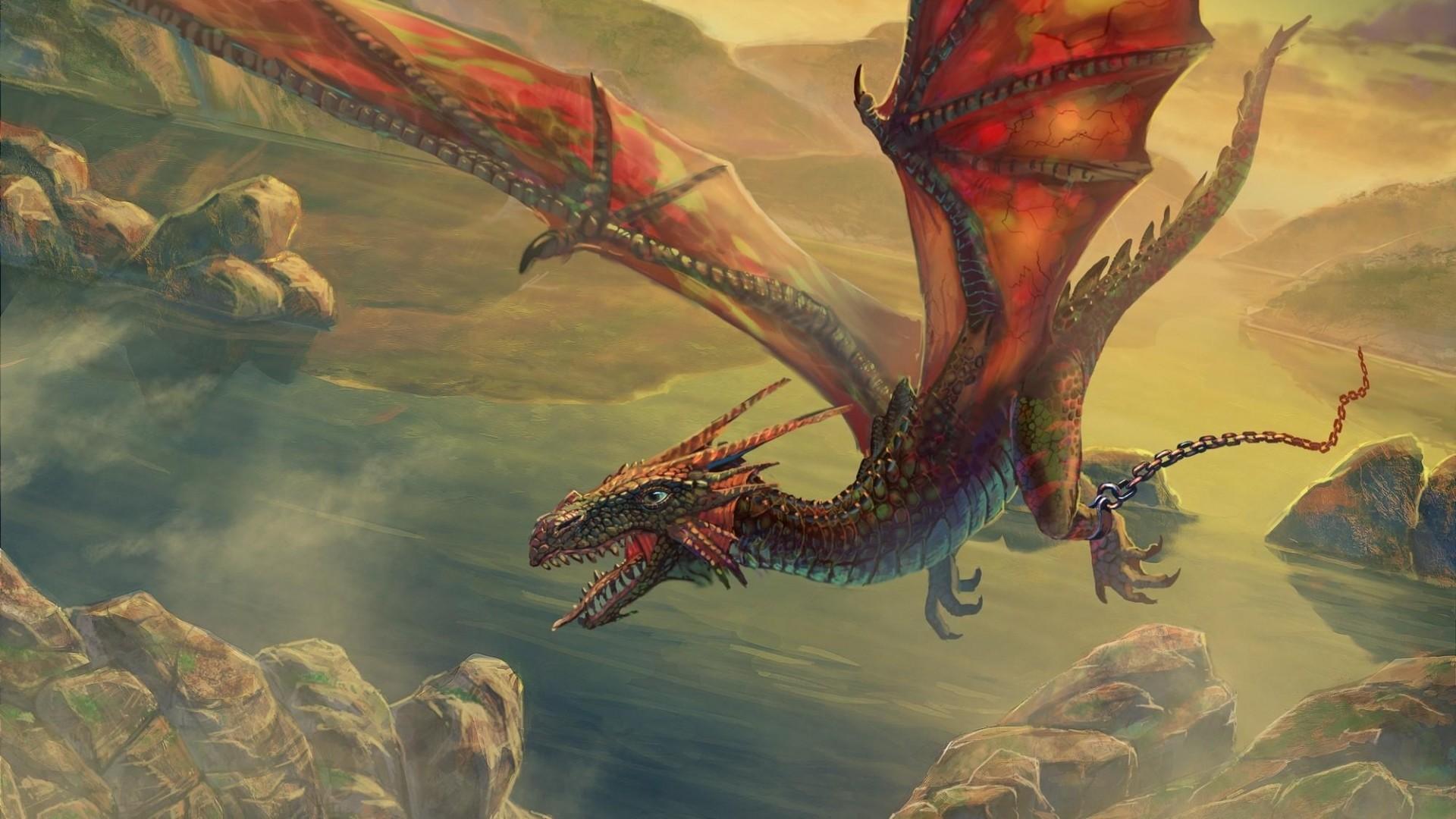 Preview wallpaper dragon, flying, chain, rock 1920×1080