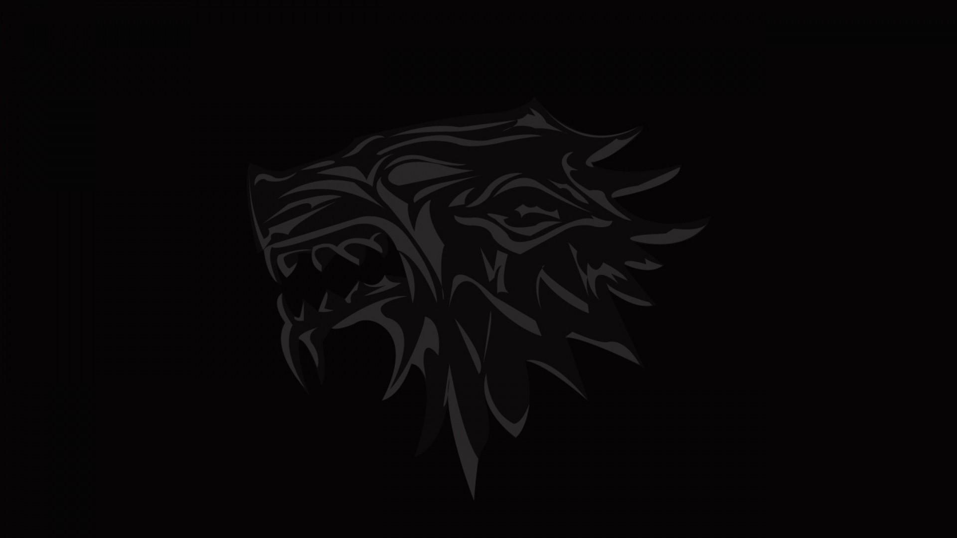 Wallpaper house of stark, game of thrones, logo, emblem, wolf