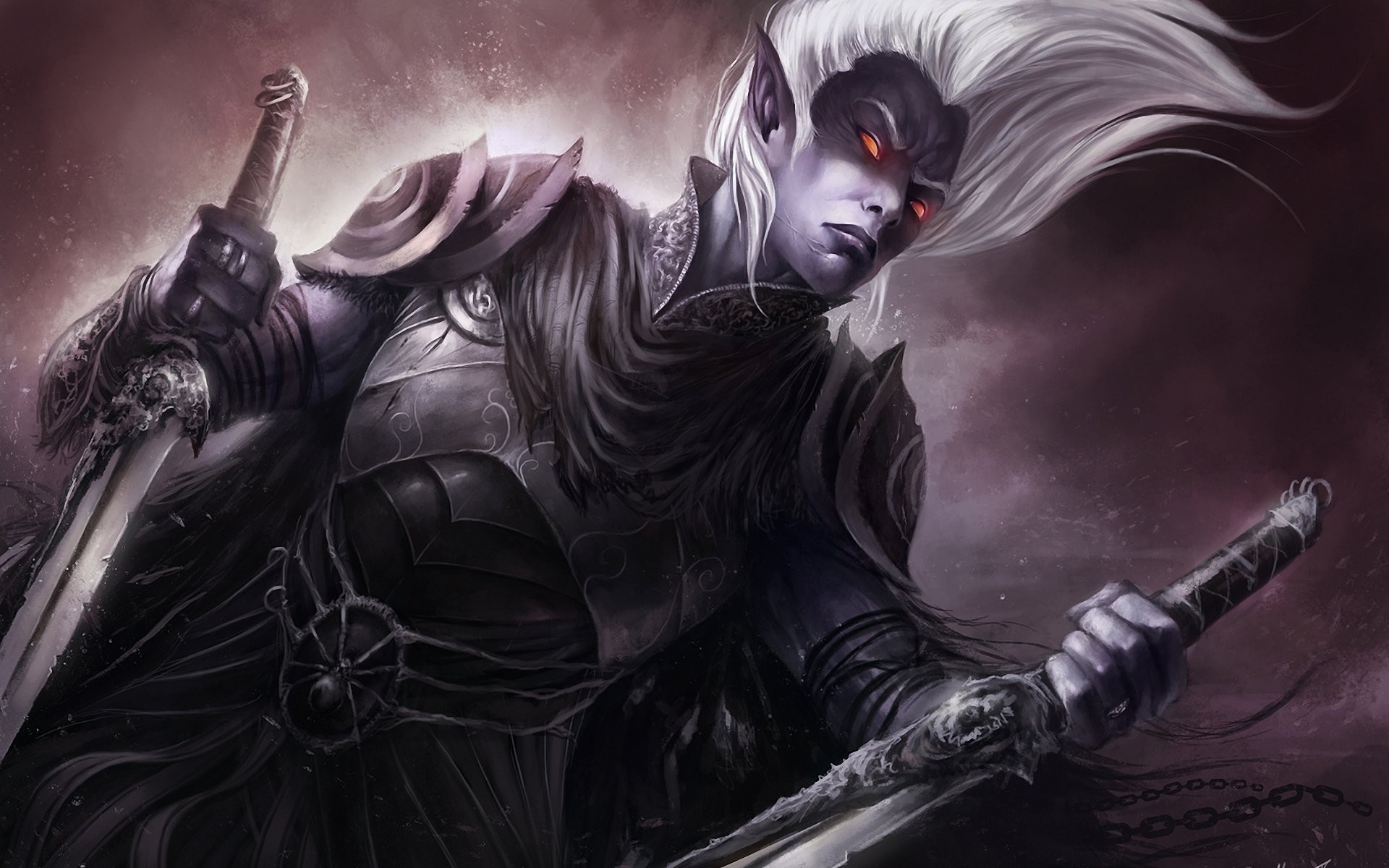 art dark elf drow drizzt do'urden burning eyes armour blade chains