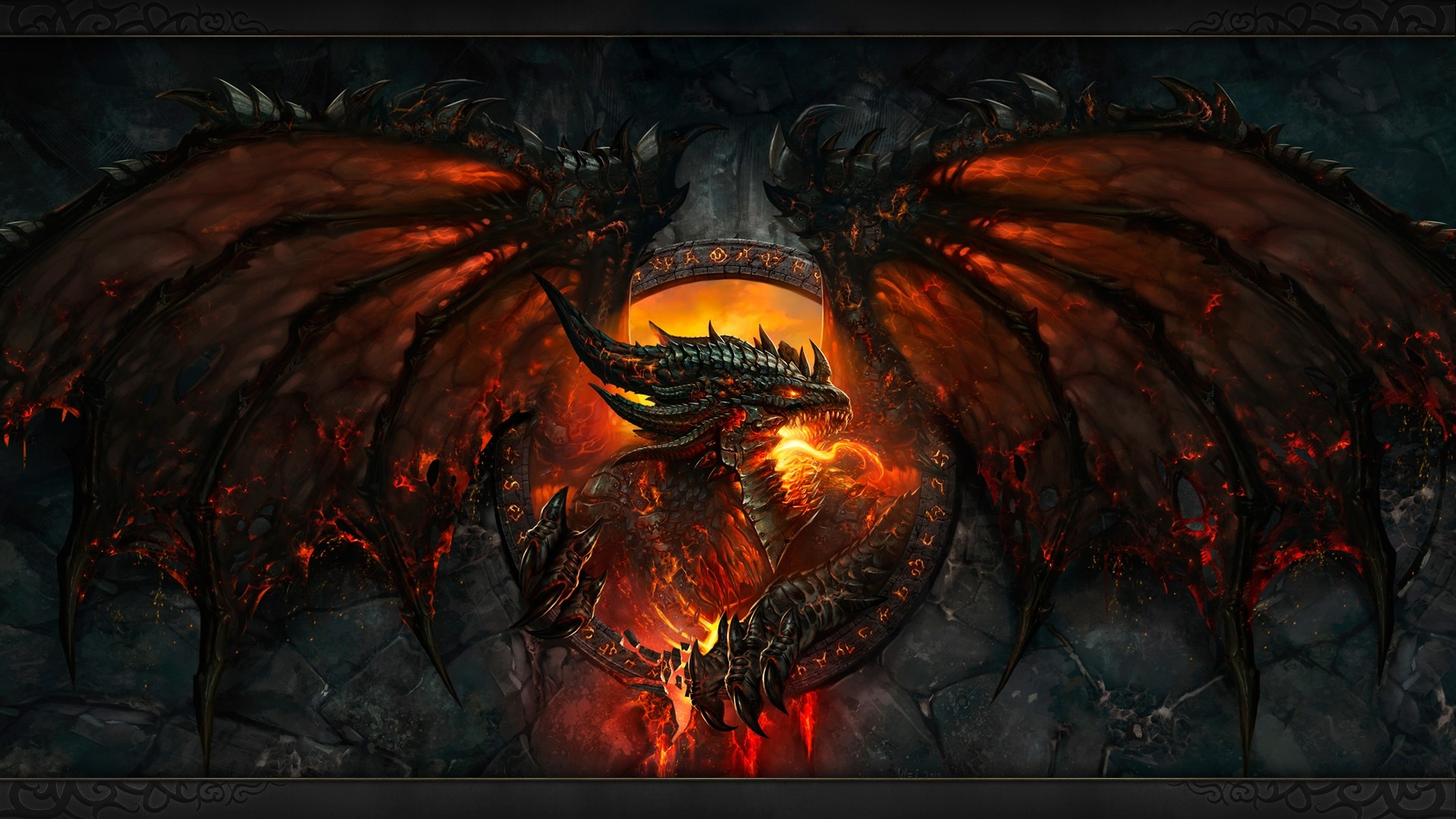 Preview wallpaper world of warcraft, dragon, fire, face, wings 1920×1080