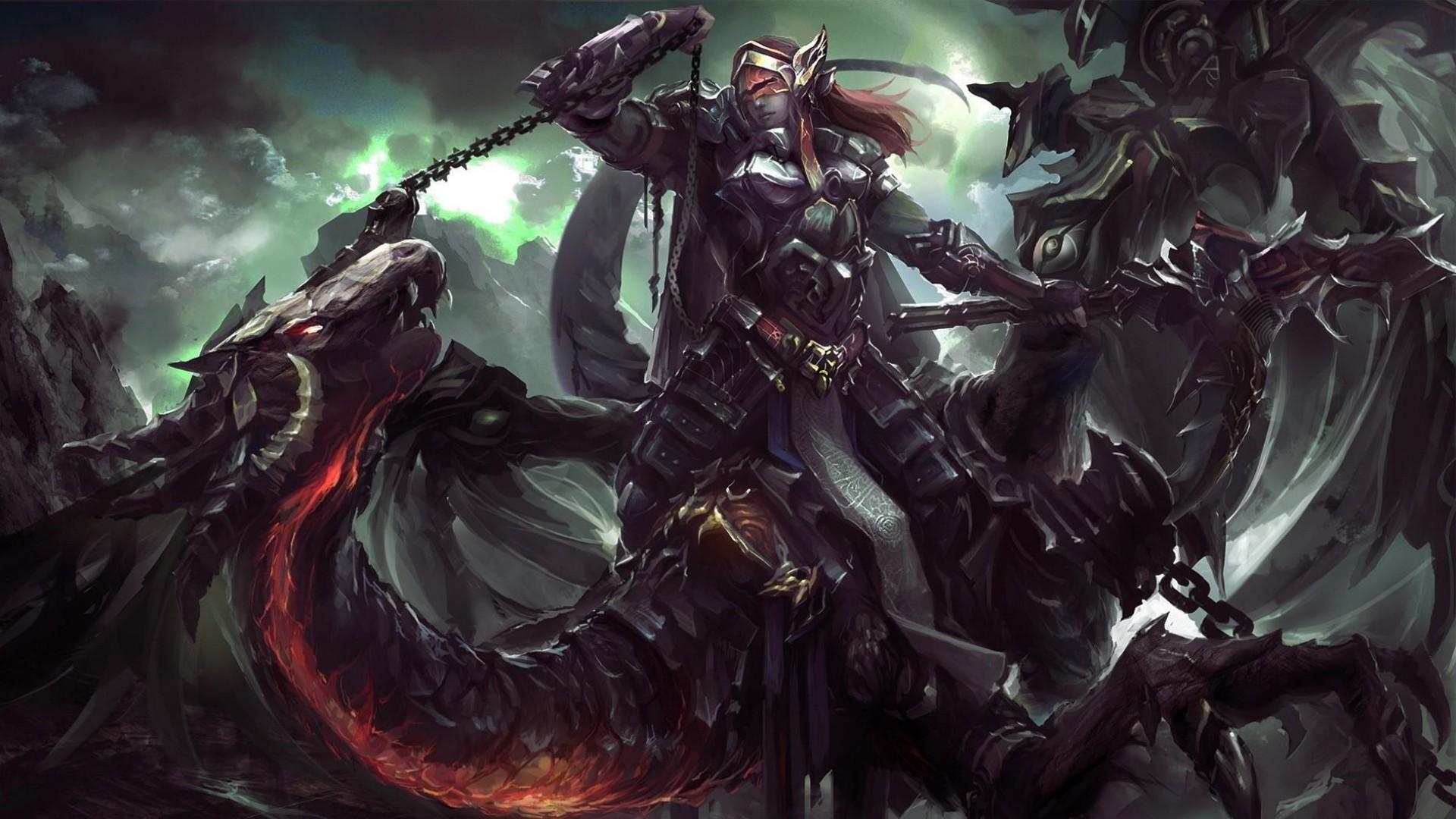 dragon, flying, chain · dragon, rider, chain