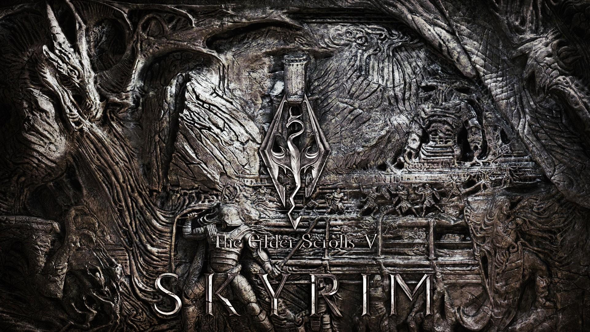 … Background Full HD 1080p. Wallpaper the elder scrolls skyrim,  wall, art, emblem, dragon
