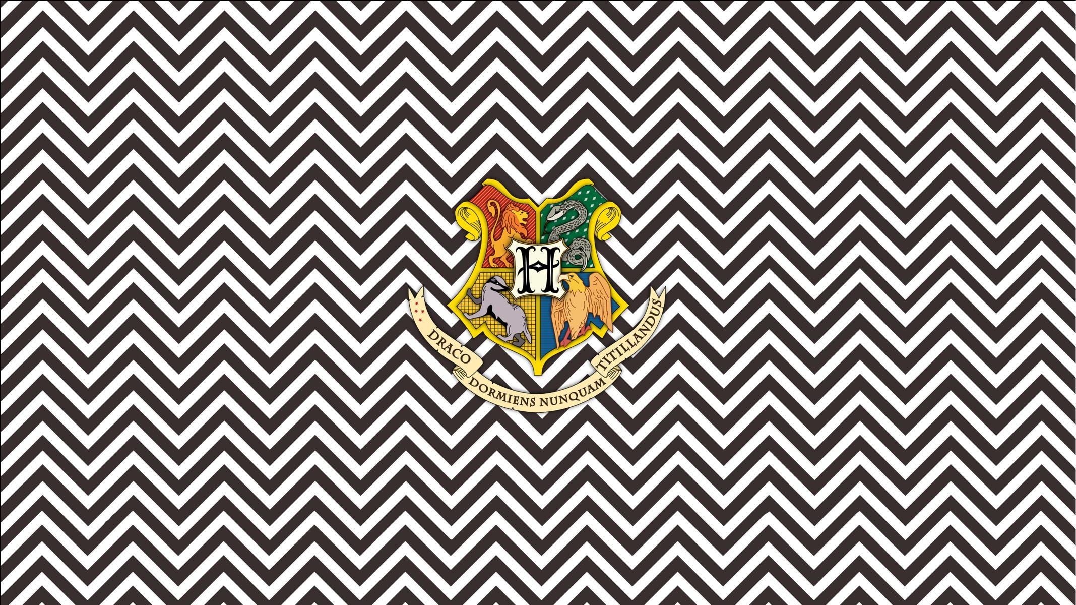Hogwarts Crest on chevron widescreen desktop wallpaper Widescreen Wallpaper  made by Deanna