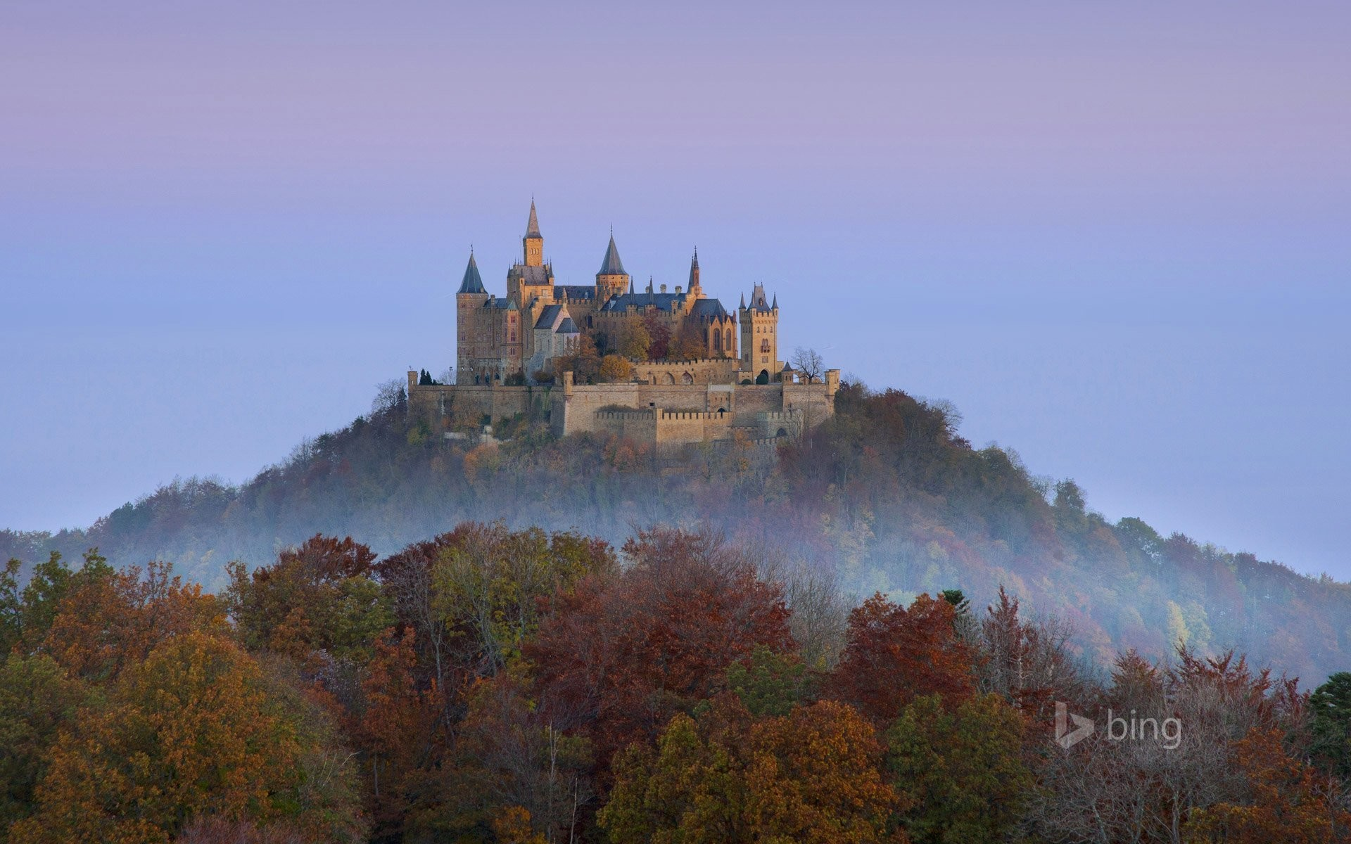 germany hohenzollern castle sky mountain forest tree autumn