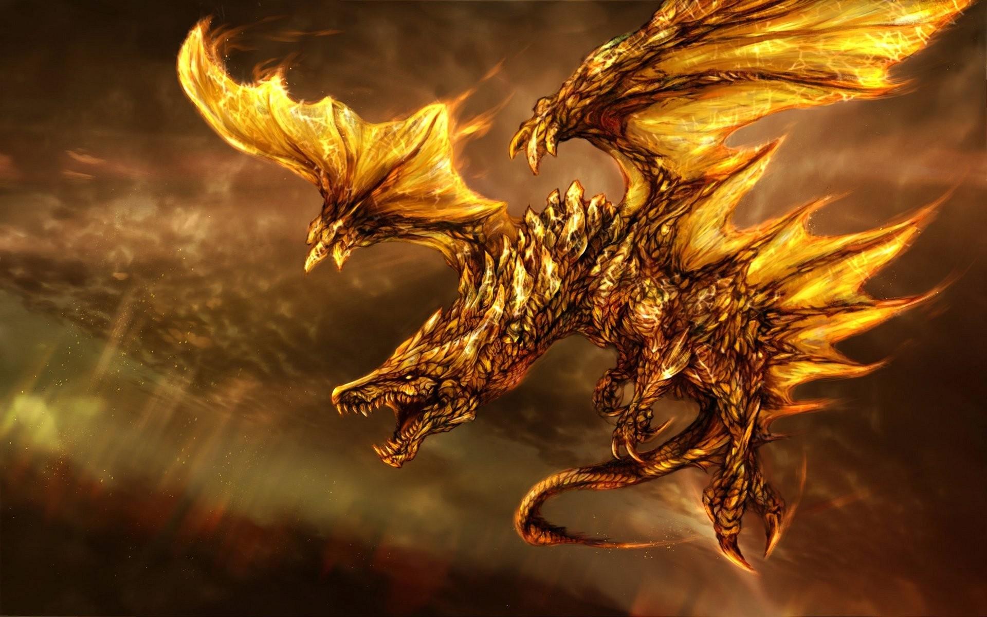 Wallpaper Yellow Fired Dragon