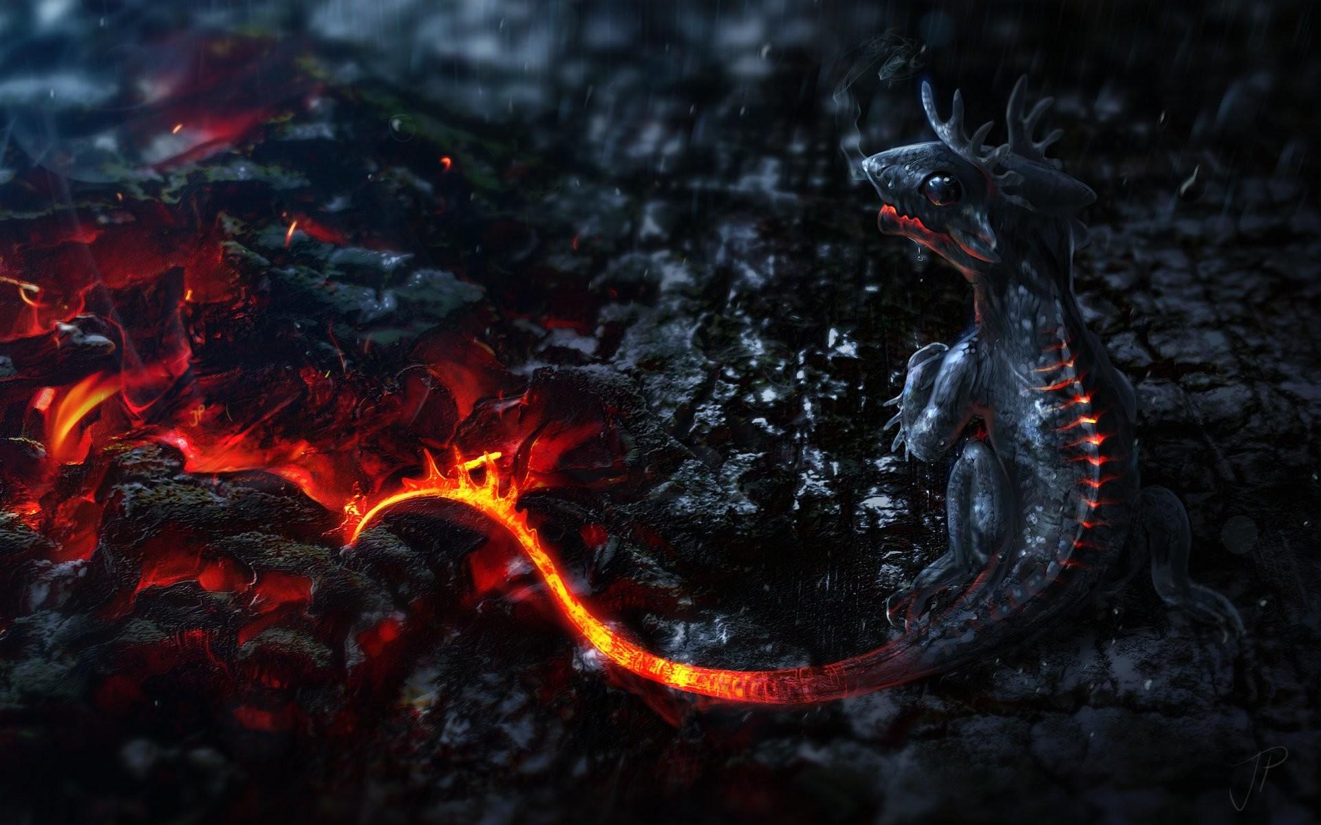 Wallpaper lava little dragon