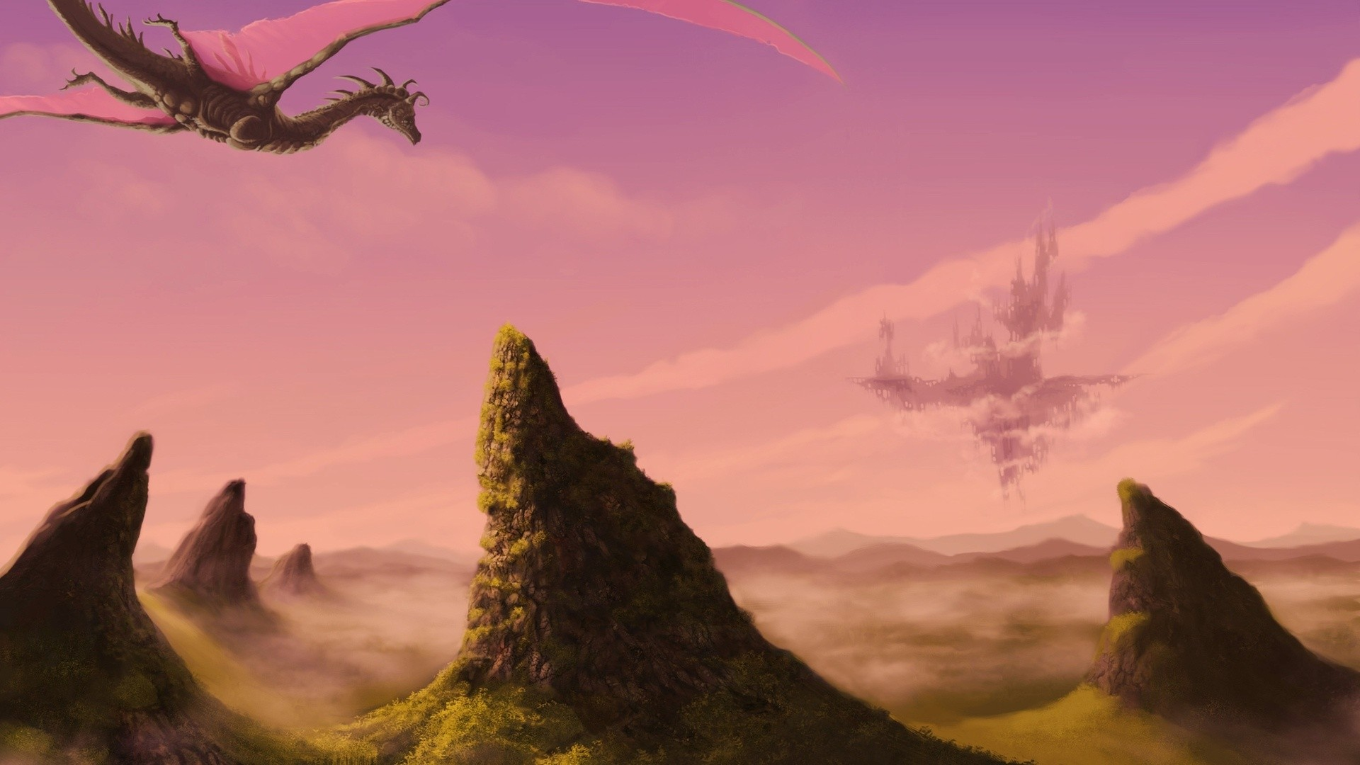 Beautiful Dragon Flying Over Mountains Towards The Castle Wallpaper