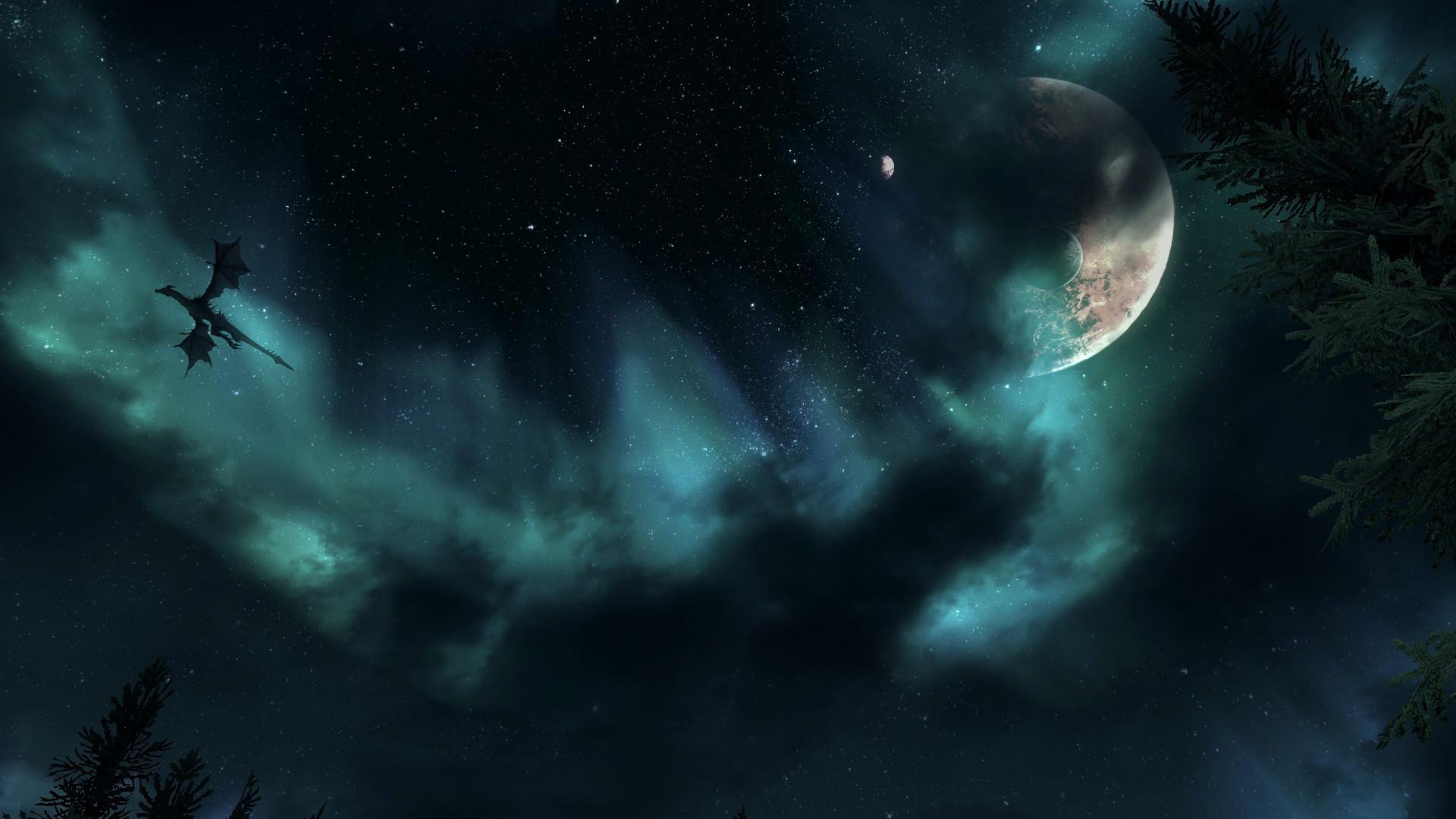 … Skyrim dragon night sky wallpaper by Mallony