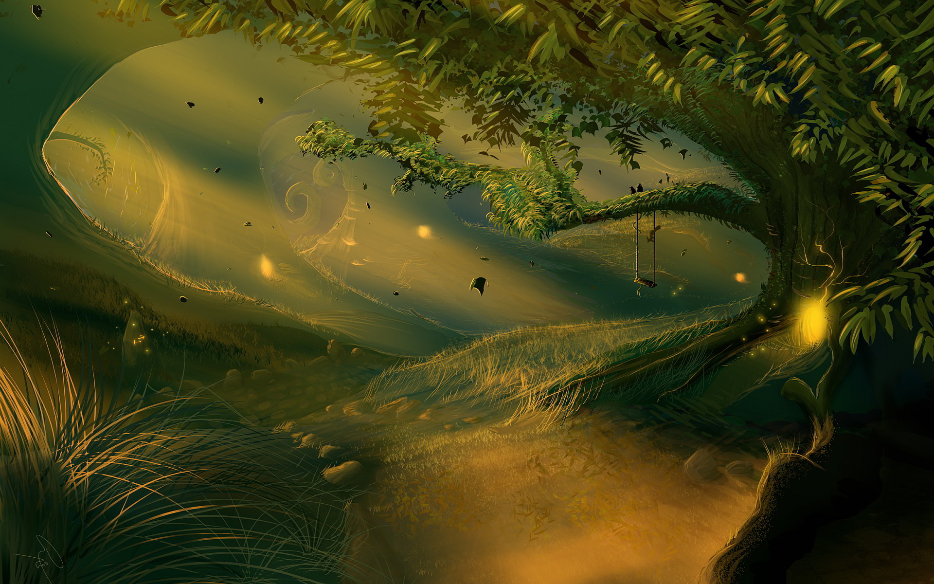 enchanted forest mural wallpaper   Fantasy enchanted forest Wallpapers  Pictures Photos Images